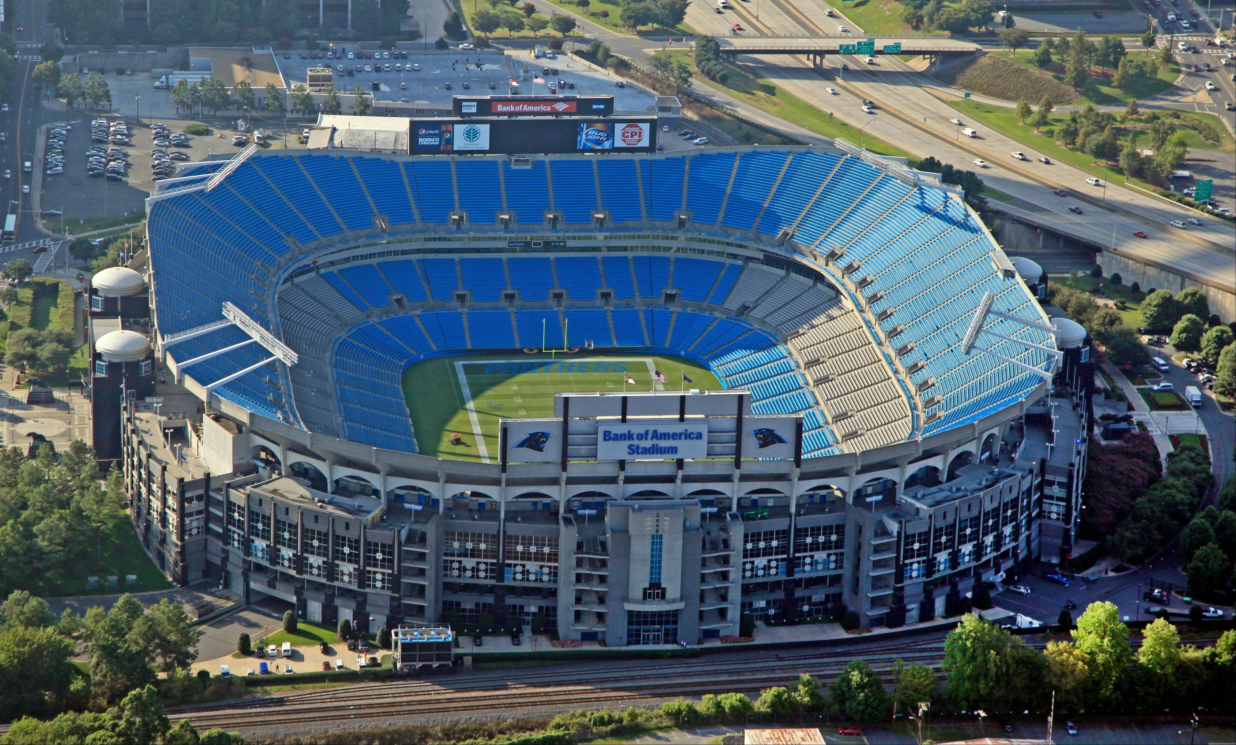 Bank of America Stadium is shown in downtown Charlotte, N.C., Thursday, Aug. 16, 2012. The stadium is one of the sites of the Democratic National Convention. The convention starts on Sept. 3, 2012.