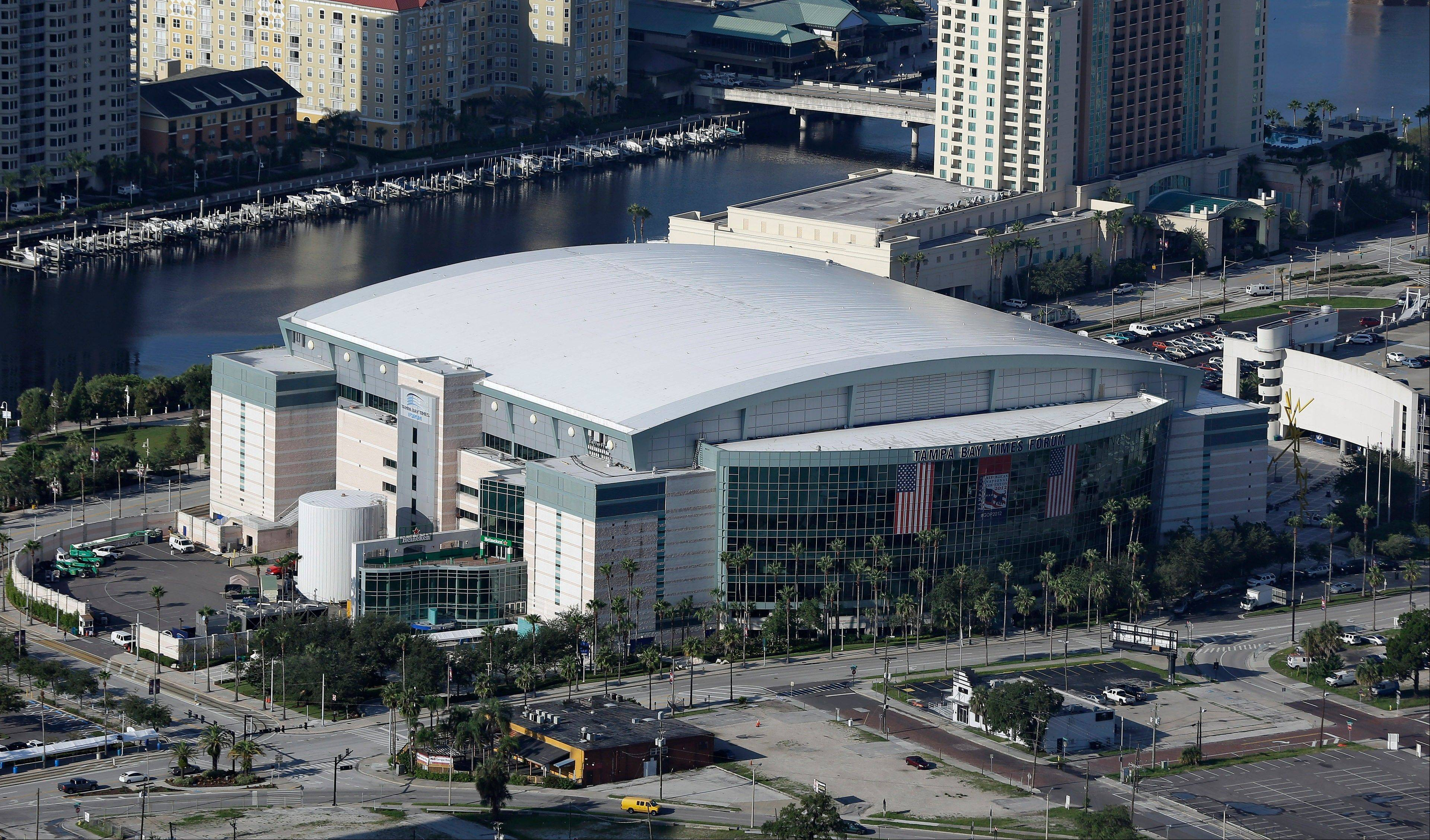 The Tampa Bay Times Forum shown Thursday, Aug. 16, 2012, in Tampa, Fla., is the site of the 2012 Republican National Convention. The 2012 Republican National Convention will be held in Tampa, Florida the week of August 27.