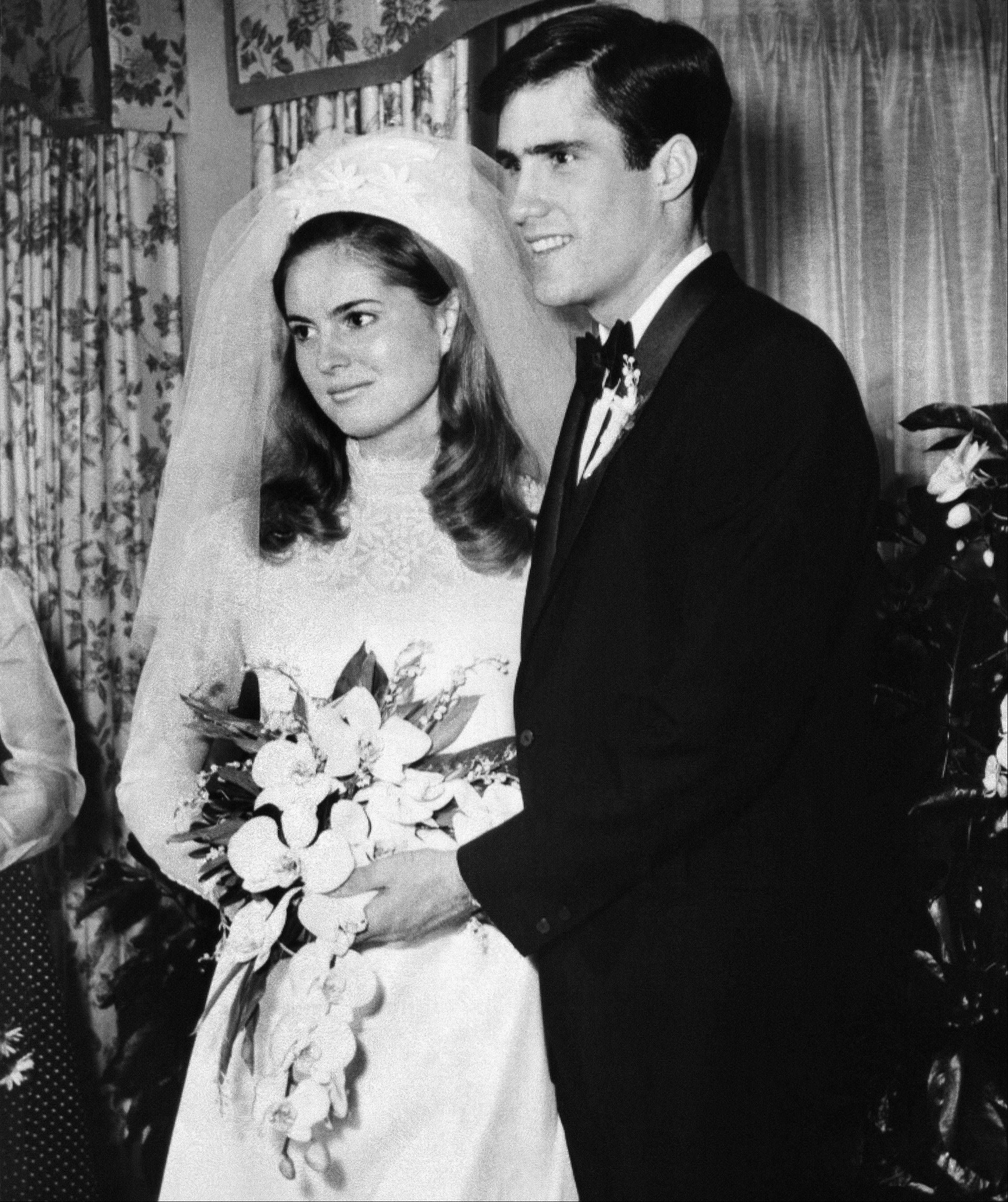 In this March 21, 1969, file photo, Ann Lois Davies and Willard Mitt Romney, second and youngest son of former Michigan Governor and Mrs. Lenore Romney, married in a civil ceremony at the brides family home in Bloomfield Hills, Mich. The couple then resumed their studies at Brigham Young University, Provo, Utah, after a brief honeymoon.