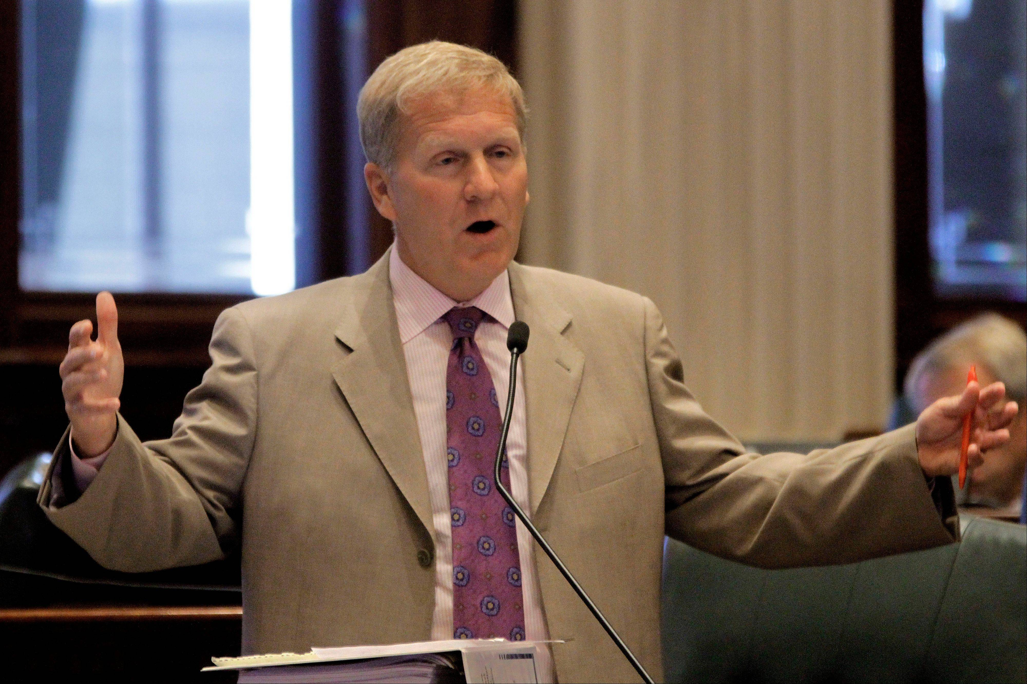 Illinois House Republican Leader Tom Cross of Oswego argues pension legislation during Friday's special session. Republicans, including Cross, have opposed shifting some of the state's pension costs to local schools.