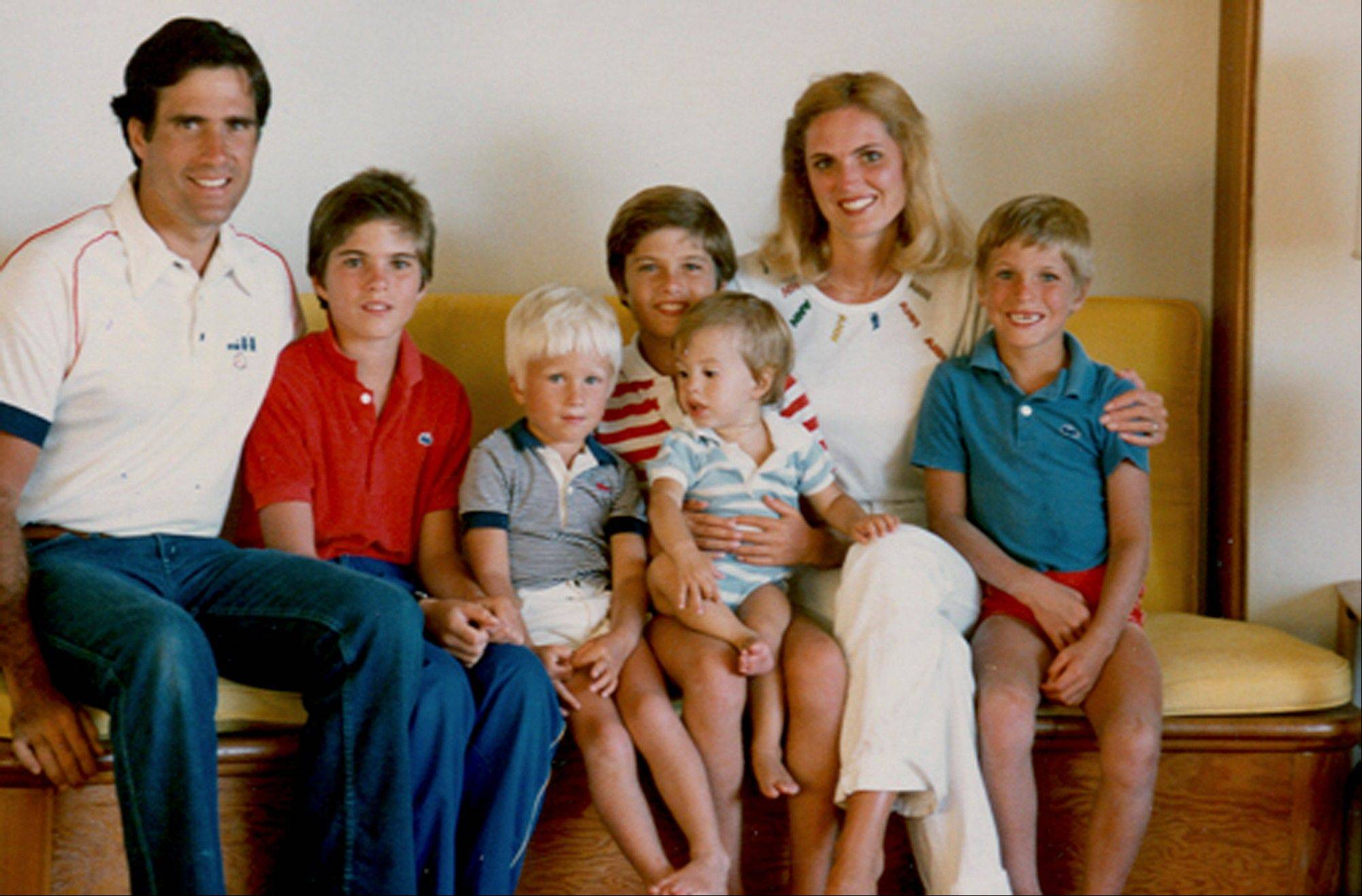 This 1982 photo provided by the Romney for President, Inc., location unknown, shows the Romney family during summer vacation: from left, Mitt, Tagg, Ben, Matt, Craig, Ann and Josh Romney.