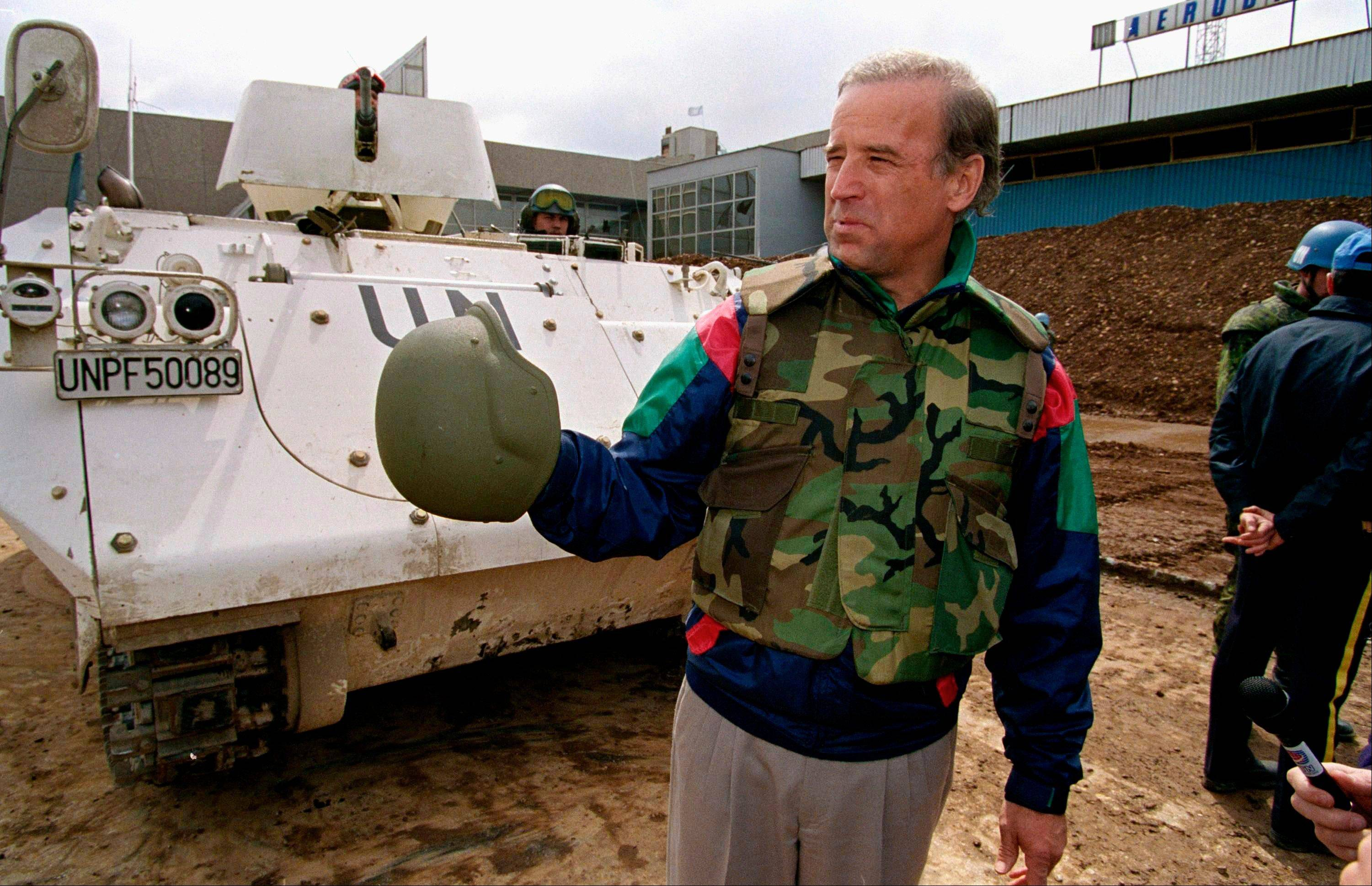 In this April 9, 1993, file photo then-Sen. Joe Biden, D-Del. stands in front of a Danish armored personnel carrier at the UN-controlled Sarajevo Airport, making a statement about his trip to the besieged Bosnian capital. In May, after Joe Biden tripped up his boss by voicing support for same-sex marriage while the president remained on the fence, there was speculation about whether the remarks were spontaneous or deliberate. But to those who know Biden, there was no doubt. He was just speaking his mind.