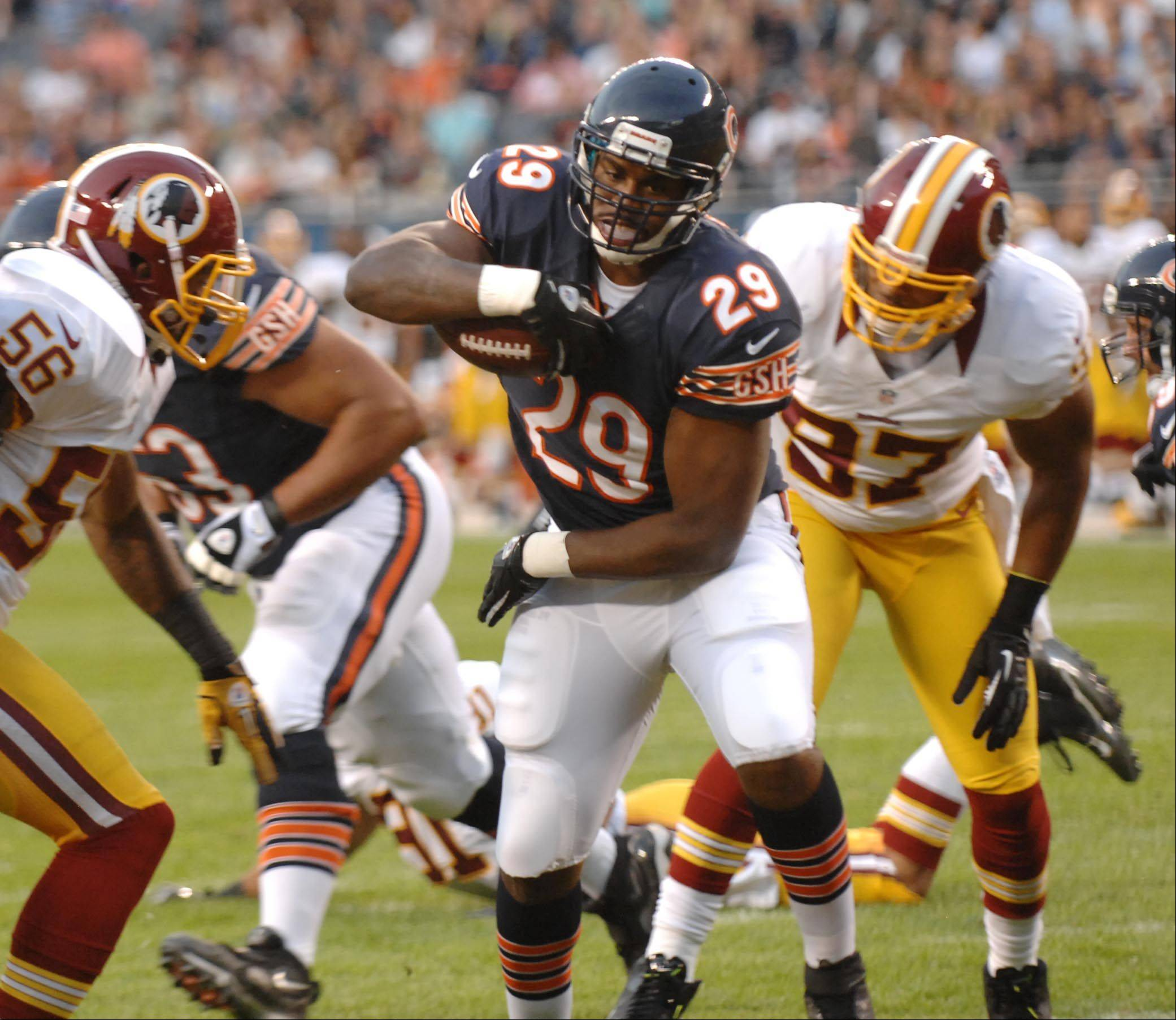 Chicago Bears running back Michael Bush scores the first of his two first-half touchdowns Saturday against the Washington Redskins in the second preseason game at Soldier Field in Chicago.