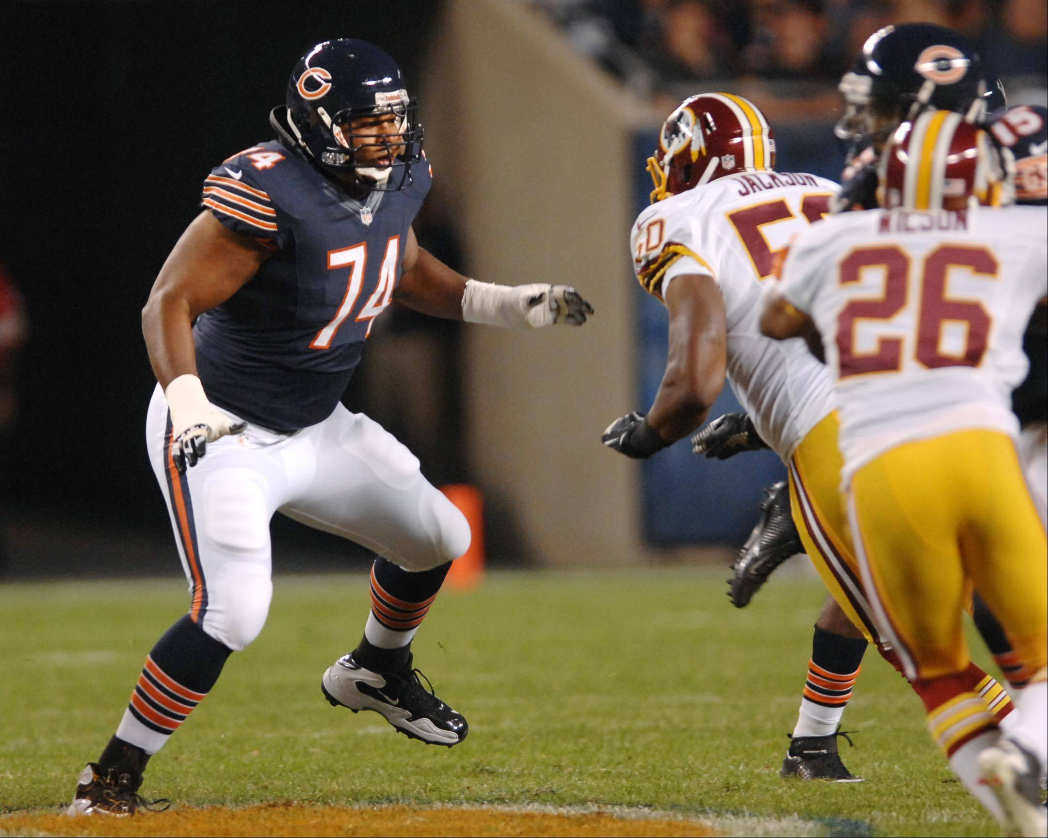 Chicago Bears offensive tackle Chris Williams Saturday against the Washington Redskins in the second preseason game at Soldier Field in Chicago.