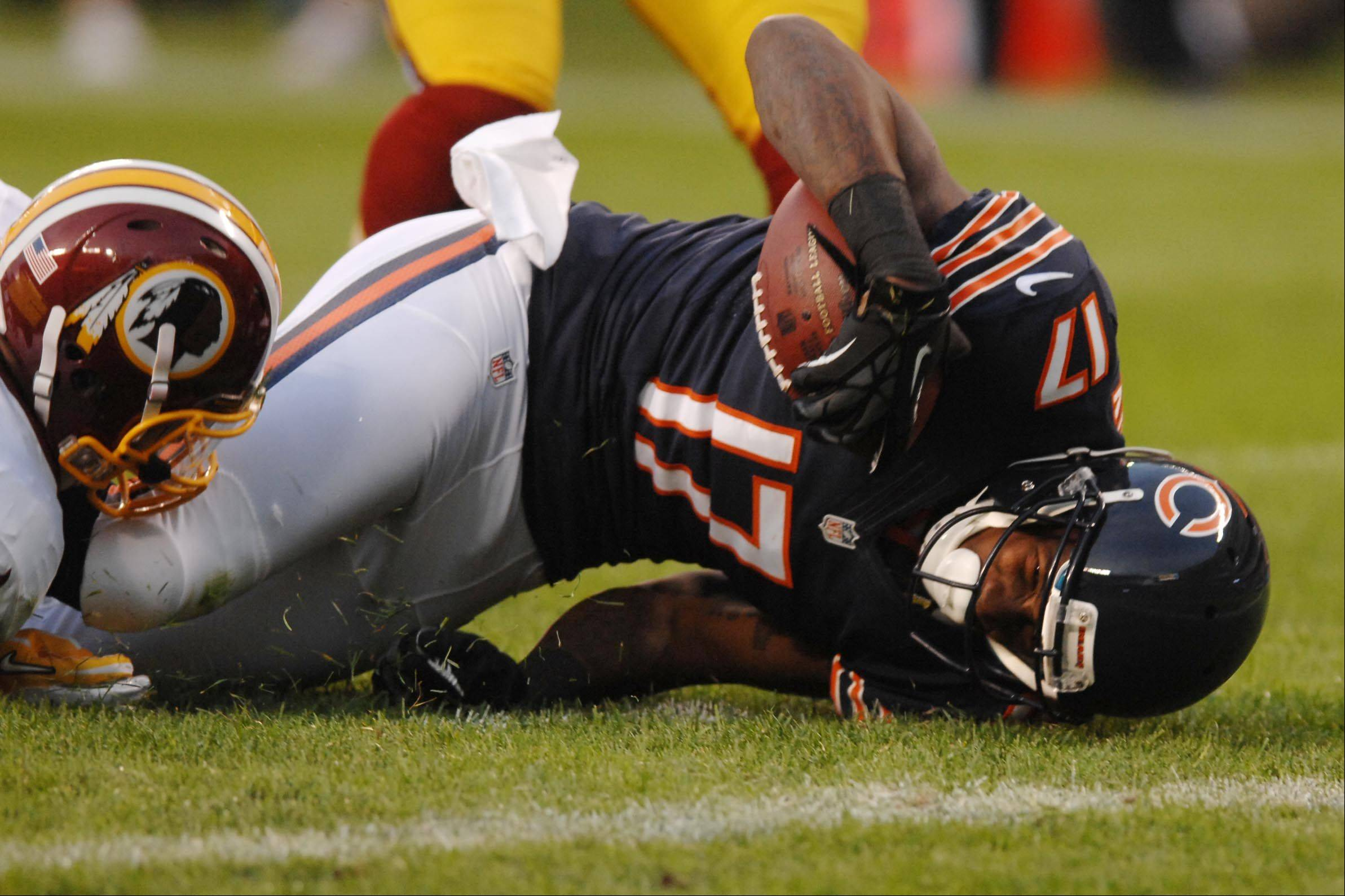 Chicago Bears wide receiver Alshon Jeffery is stopped short of the goal line Saturday against the Washington Redskins in the second preseason game at Soldier Field in Chicago. Teammate Michael Bush scored on the next play.