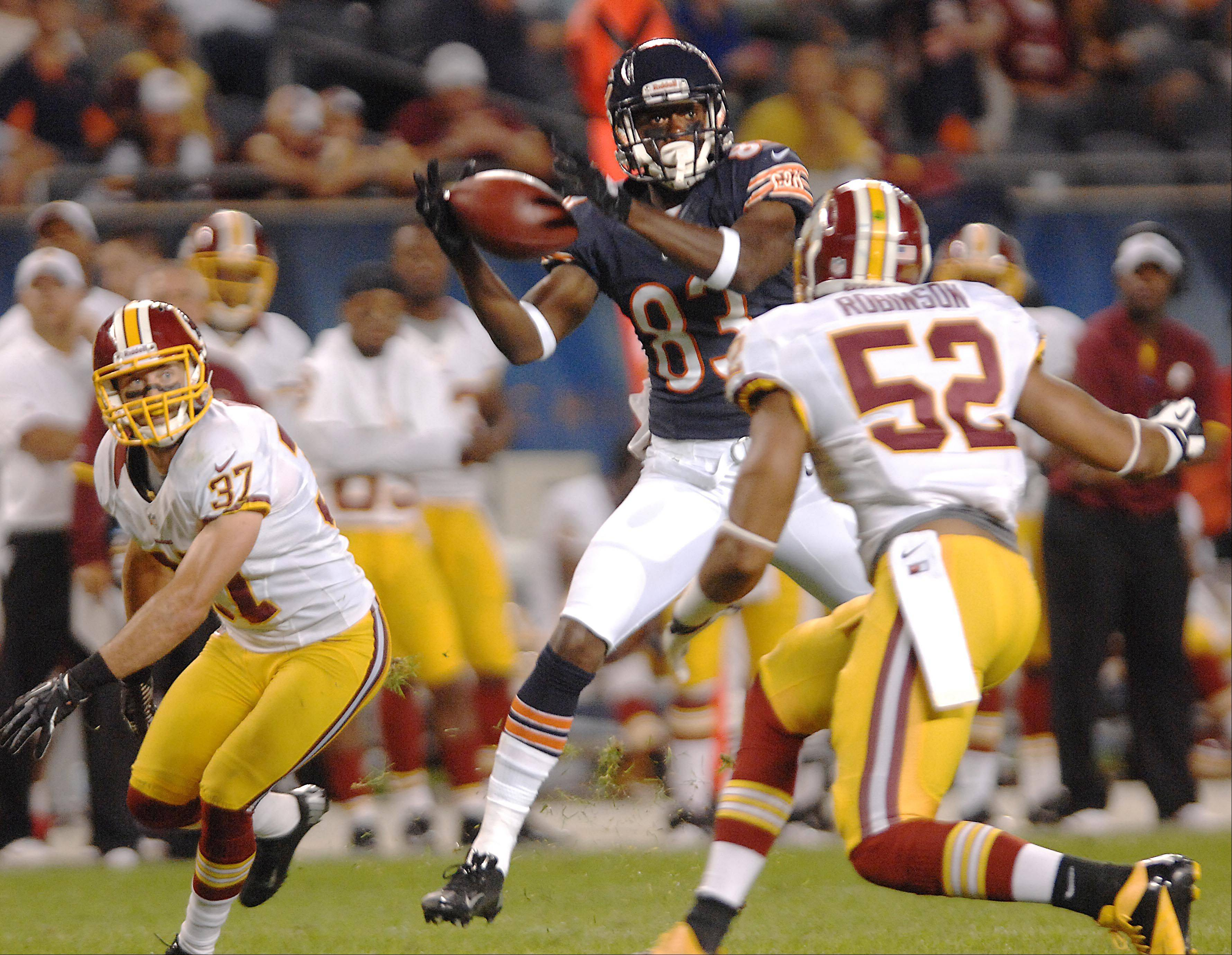 Chicago Bears wide receiver Chris Summers makes a catch that he would fumble seconds later Saturday against the Washington Redskins in the second preseason game at Soldier Field in Chicago.