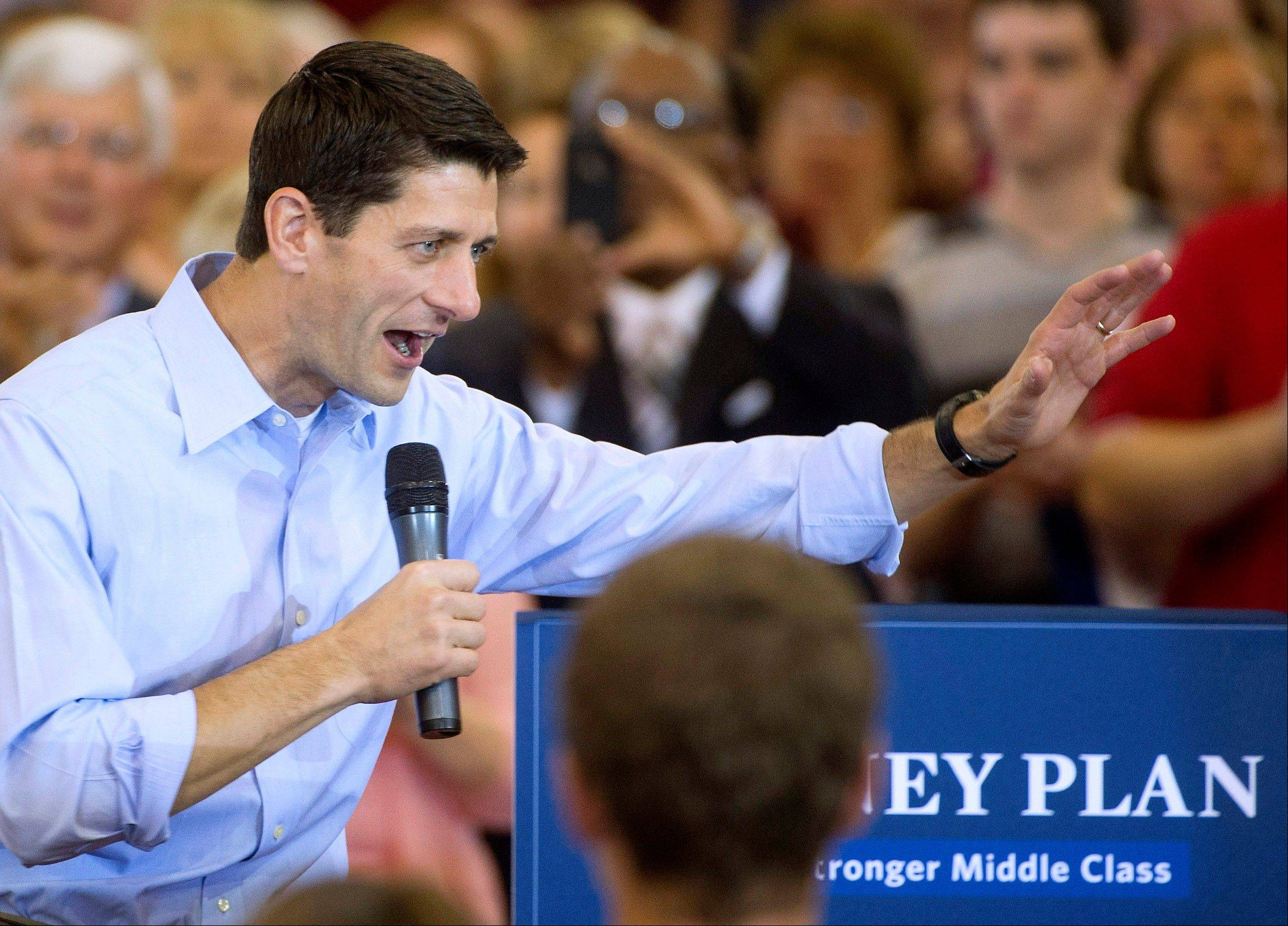 Republican vice presidential candidate Rep. Paul Ryan, R-Wis. speaks at a campaign stop at Walsh University in North Canton, Ohio.