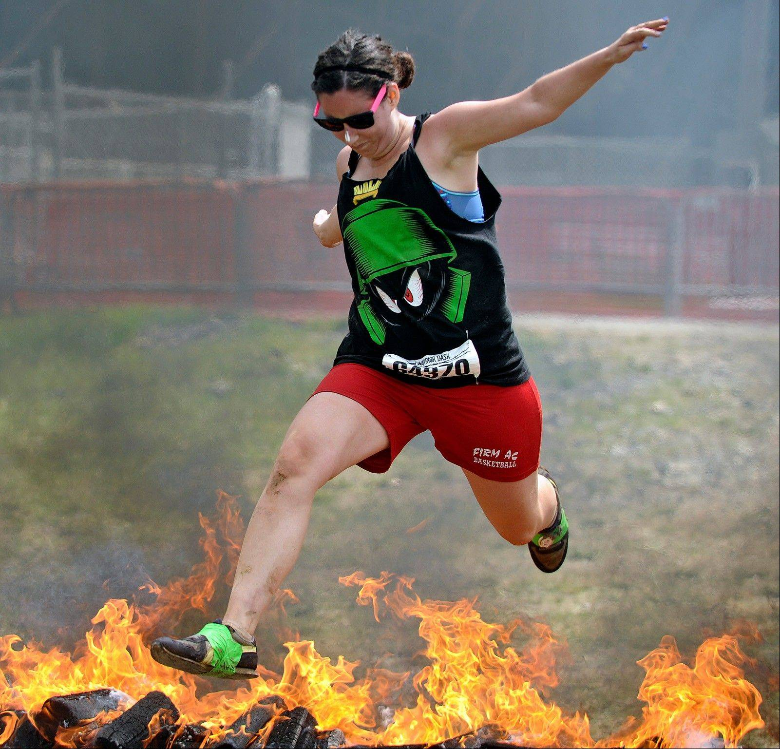 Kaitlin Karalunas of Pittston, Pa., comes down the home stretch of the Warrior Dash.