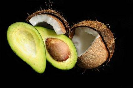 Avocados and coconuts are both good sources of healthy fats.