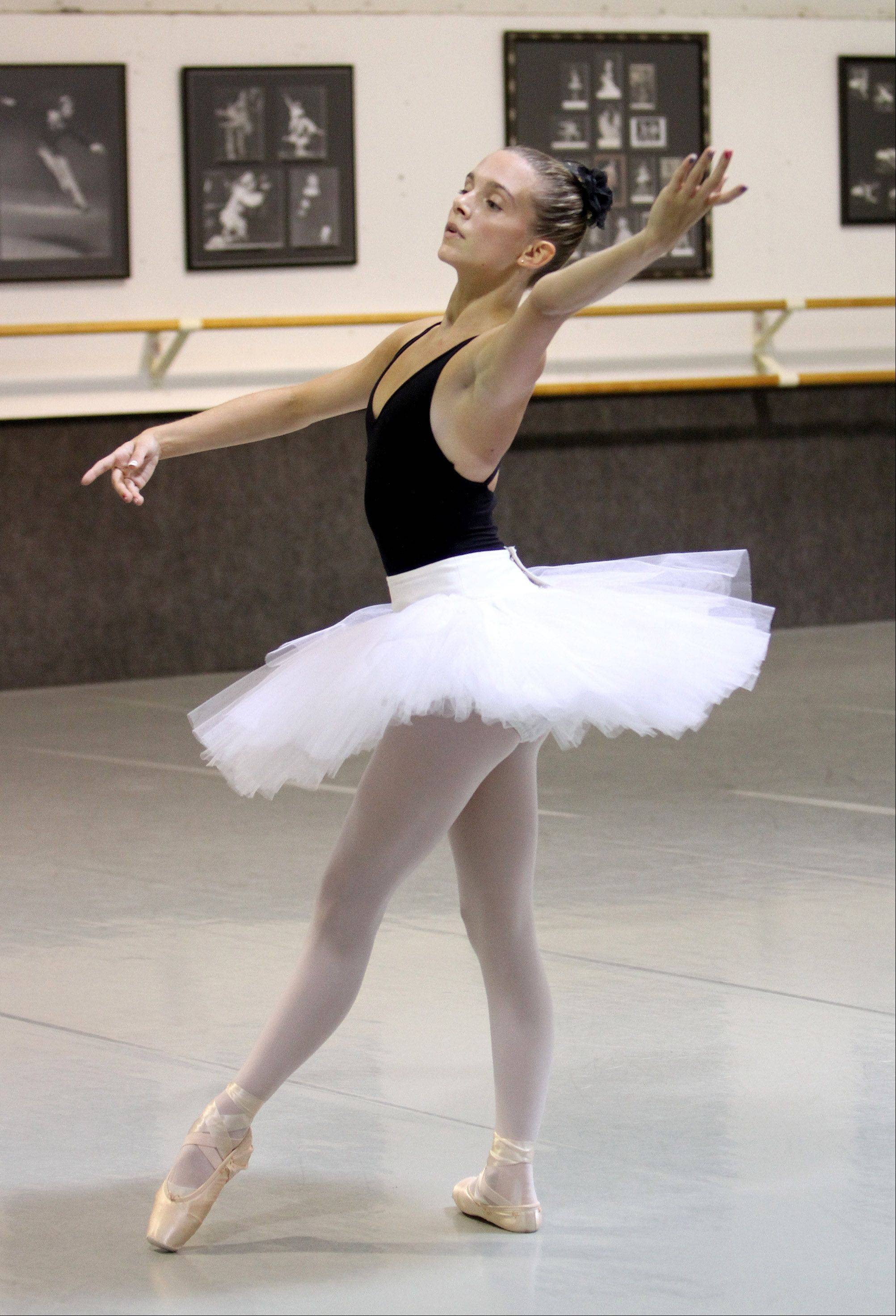 "Casimere Jollette, 16, of Addison, trains at the Academy of Dance Arts in Downers Grove. Casimere is training to participate in the annual ""Youth America Grand Prix"" in January."