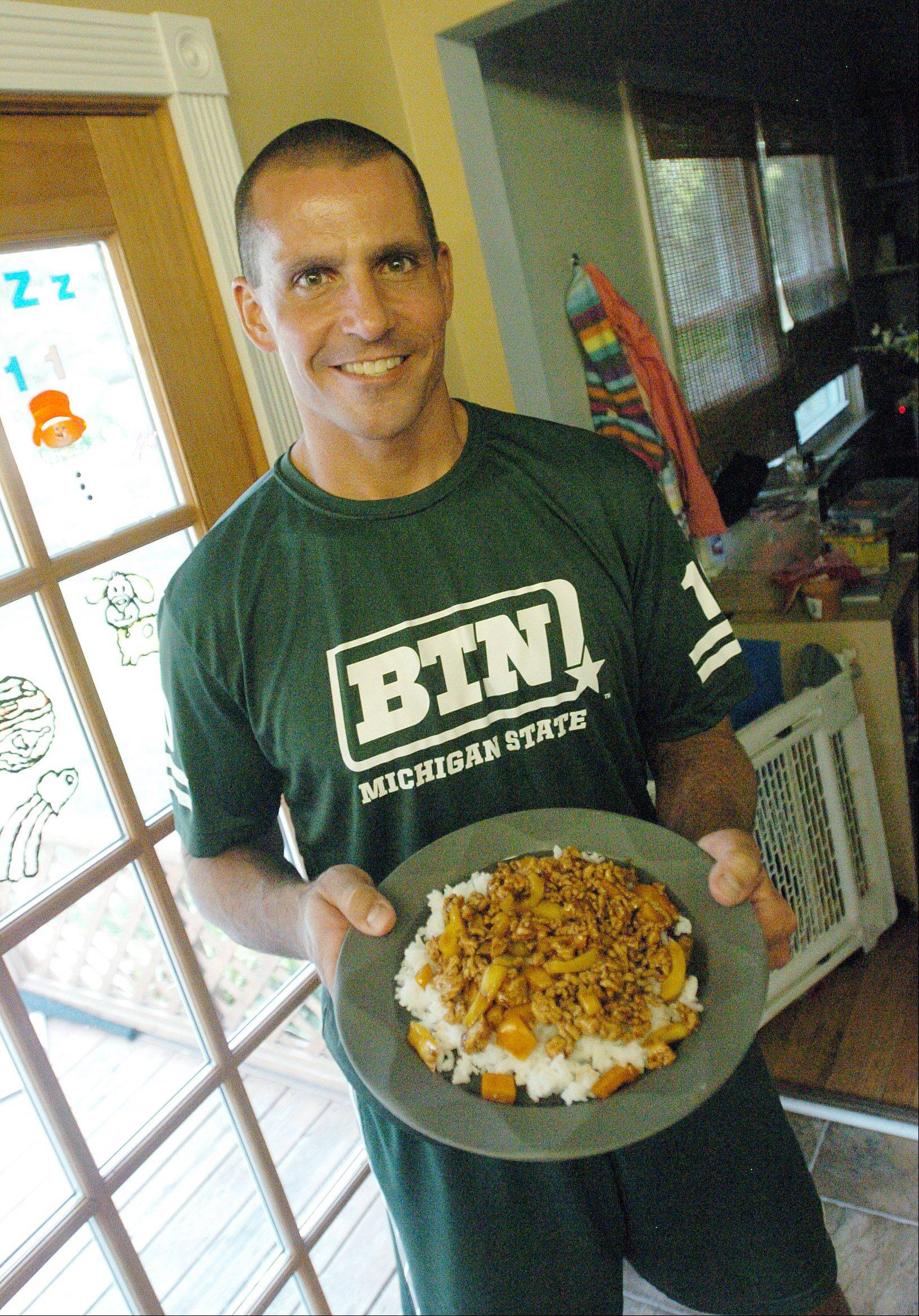 Jerry Roberts does much of the cooking at home and says his three kids like this teriyaki turkey.