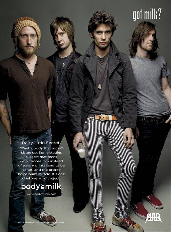 "The All-American Rejects, featured in a Got Milk ad, are supporting the ""Kids in the Street"" album, full of songs reflecting tough times in the life of lead singer Tyson Ritter, second from right."