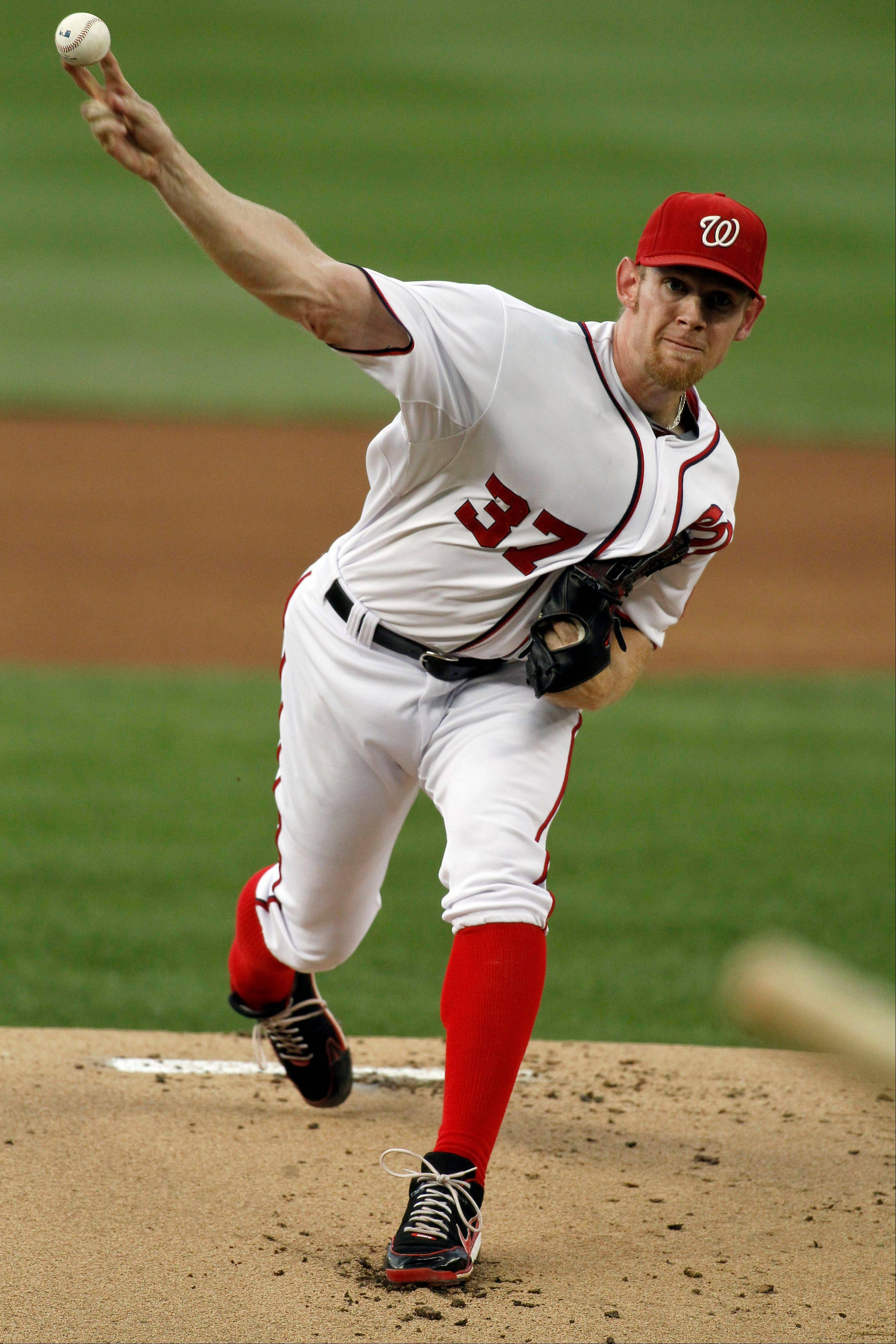 Nationals starting pitcher Stephen Strasburg throws against the Atlanta Braves during the first inning on Tuesday in Washington, D.C.