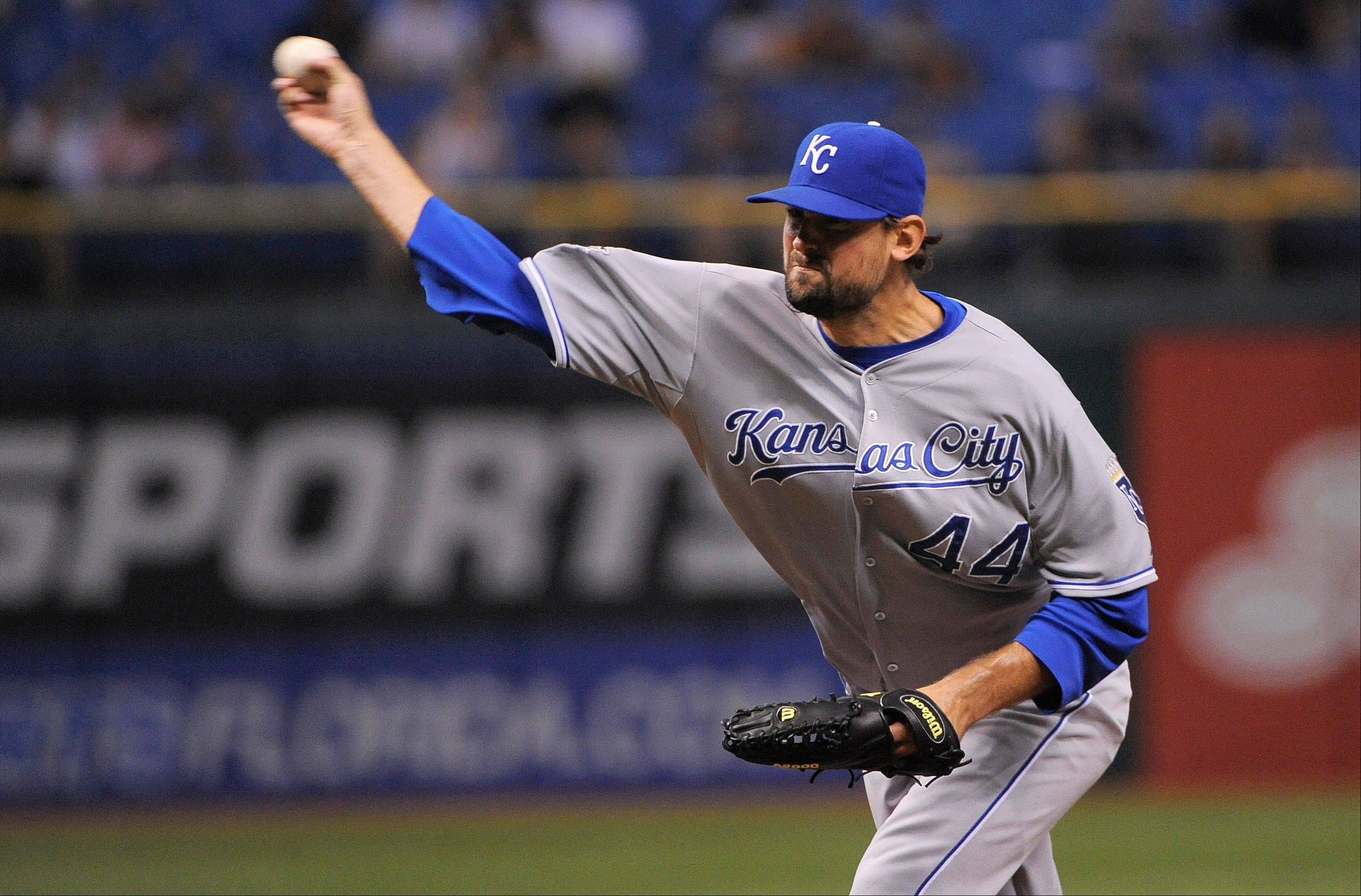 Kansas City Royals starting pitcher Luke Hochevar delivers to the Tampa Bay Rays during the second inning of Tuesday's game in St. Petersburg, Fla.