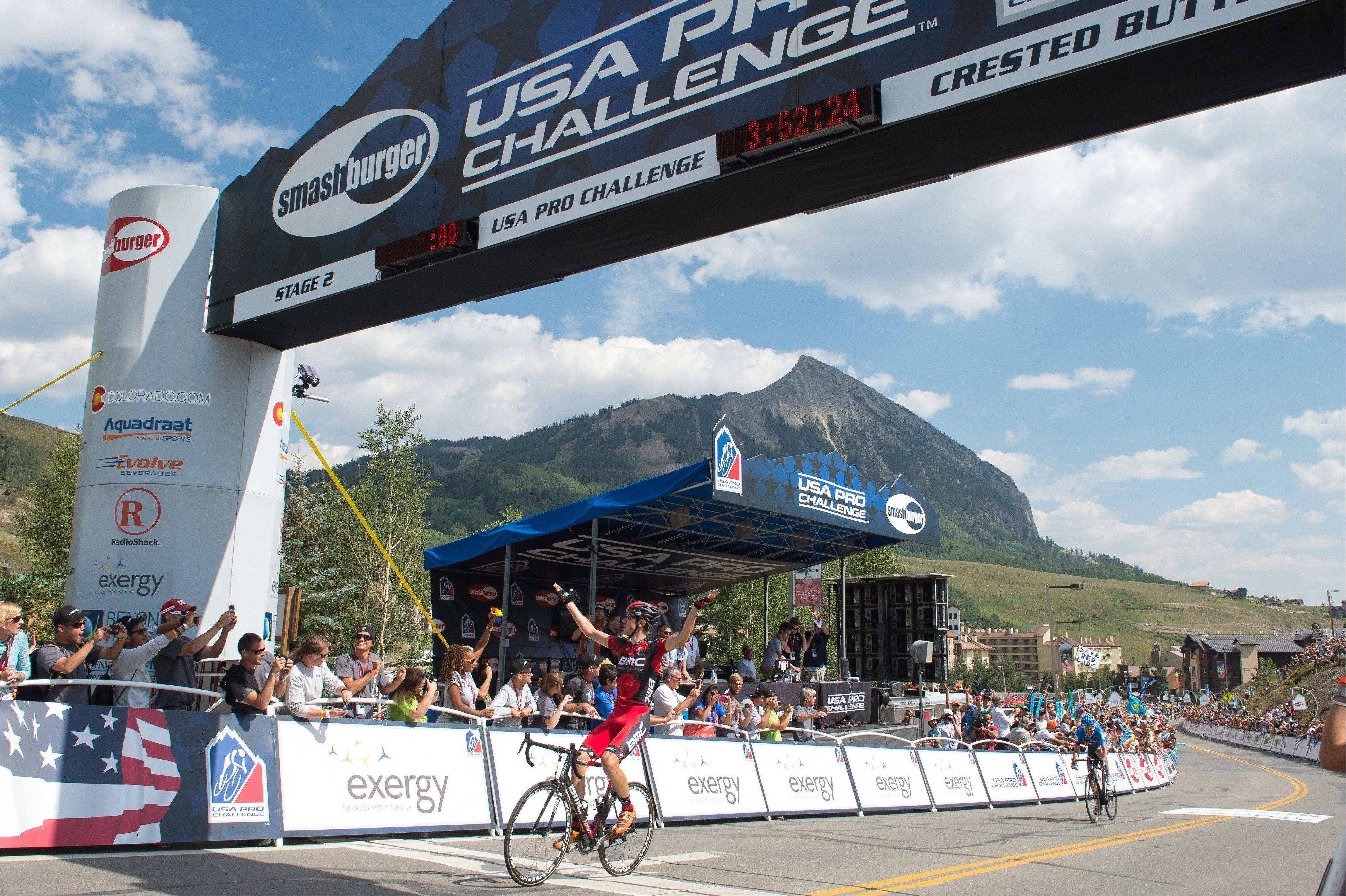 Tejay Van Garderen of the United States crosses the finish line Tuesday in Mount Crested Butte, Colo., winning the second stage of the USA Pro Cycling Challenge.