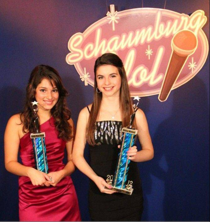 Schaumburg Park District's 2012 Schaumburg Idol winner Melissa Wickland, 14, right, poses with runner-up Emilie Rose Danno, 17.