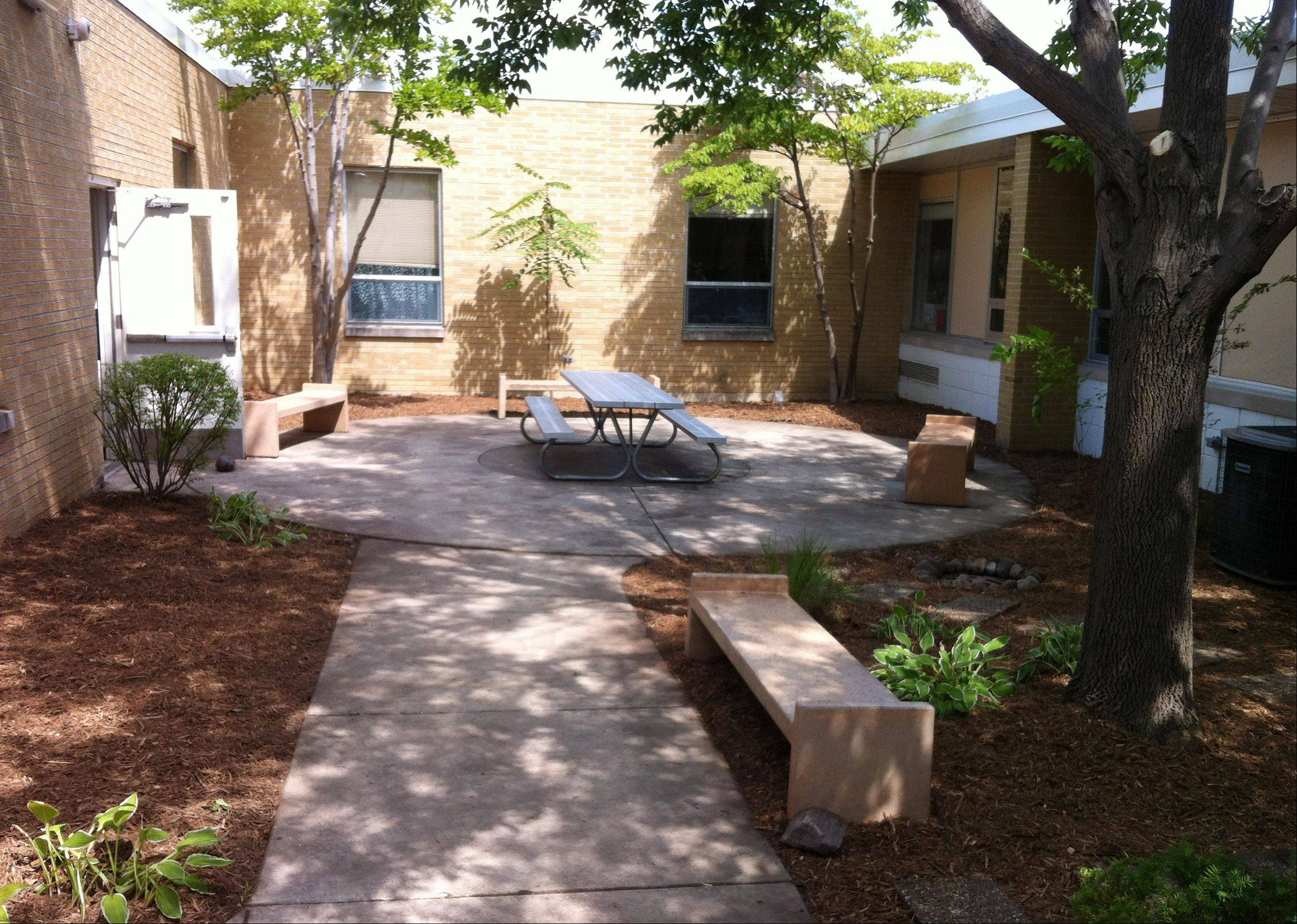 The courtyard at Fairhaven School in Mundelein was transformed after volunteers pitched in to help at the school.
