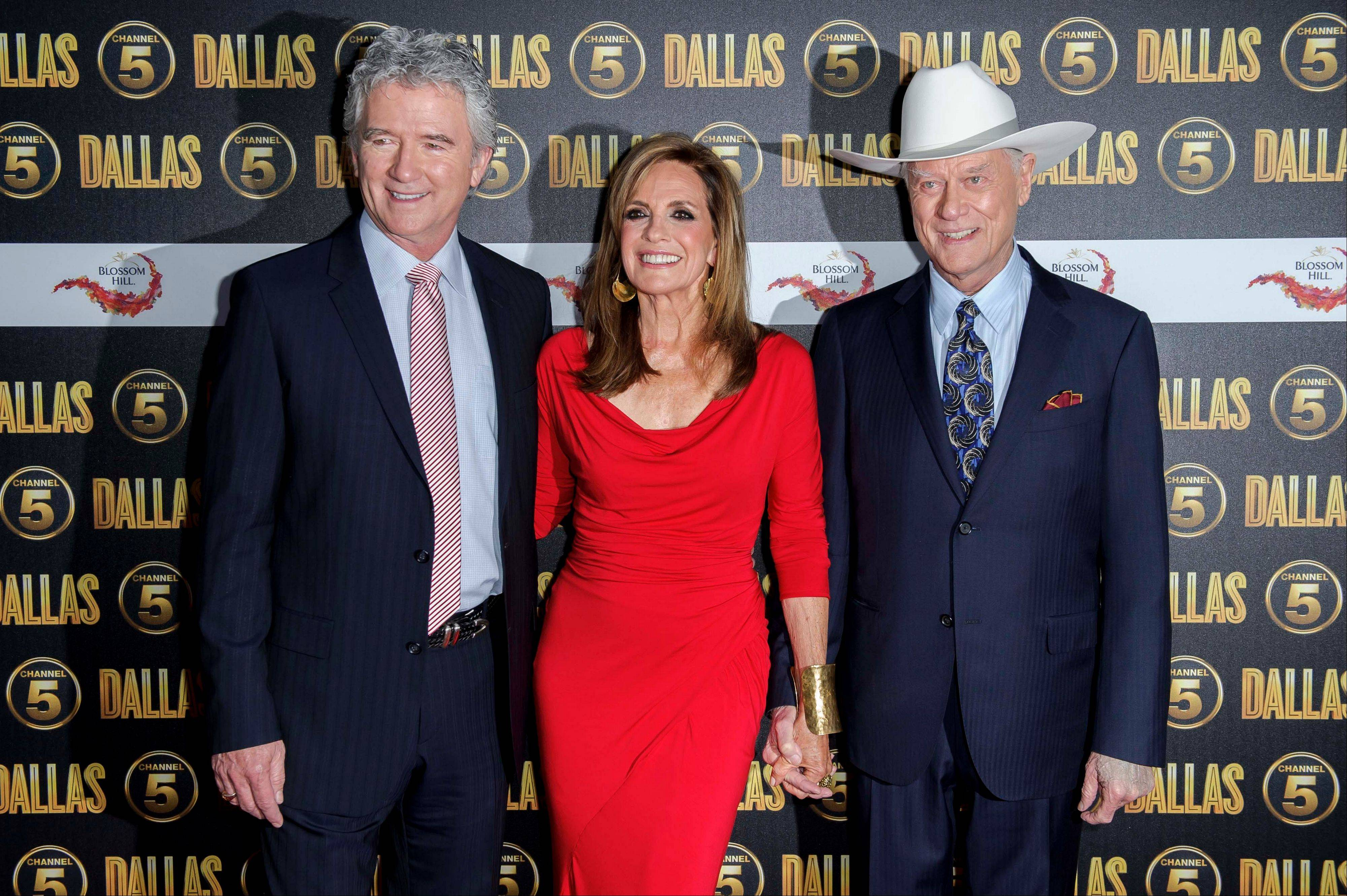 U.S actors Patrick Duffy, Linda Gray and Larry Hagman arrive for the Dallas launch party at a central London venue, Tuesday.