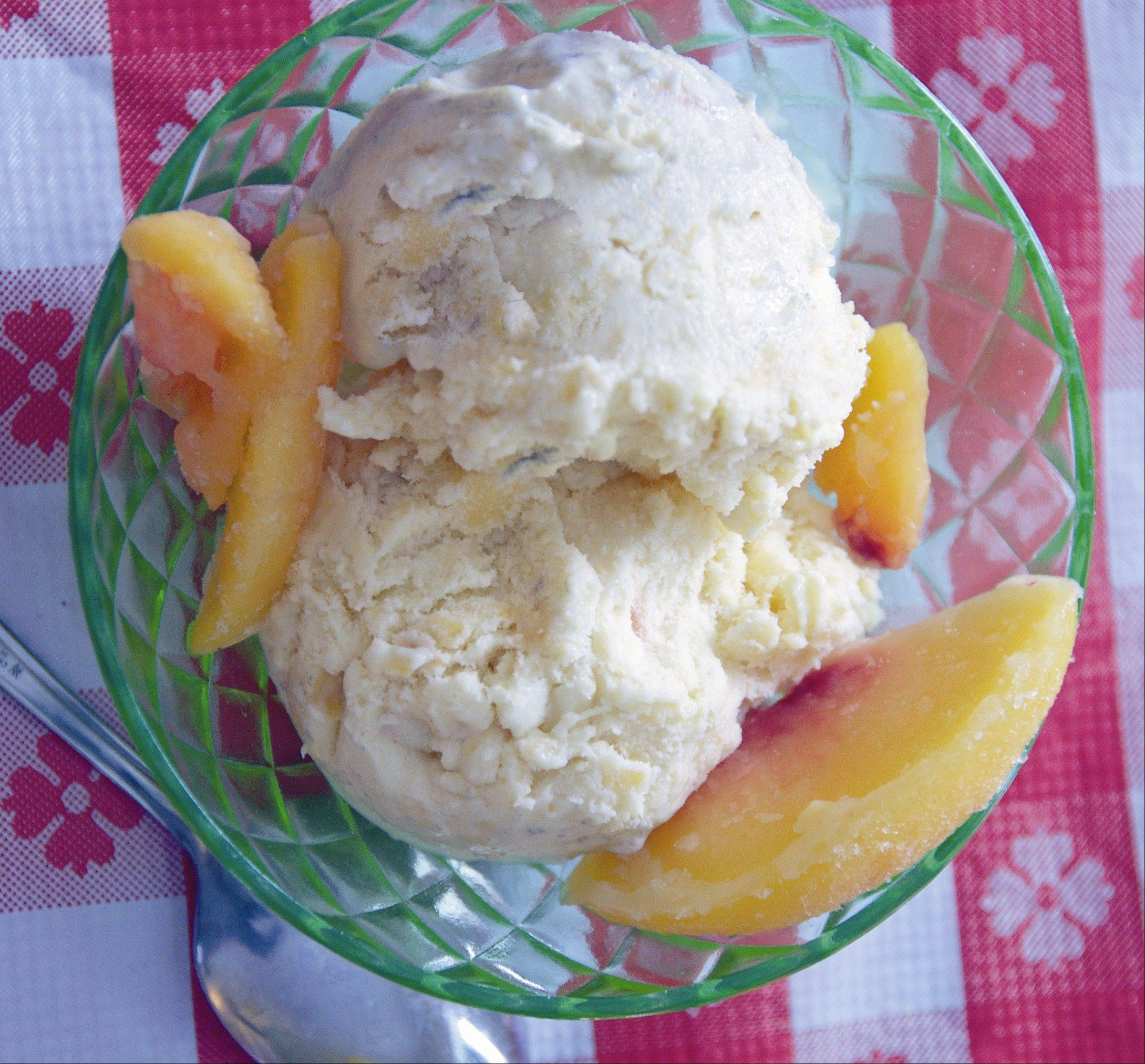 Fresh peaches taste even brighter in this custardy ice cream.