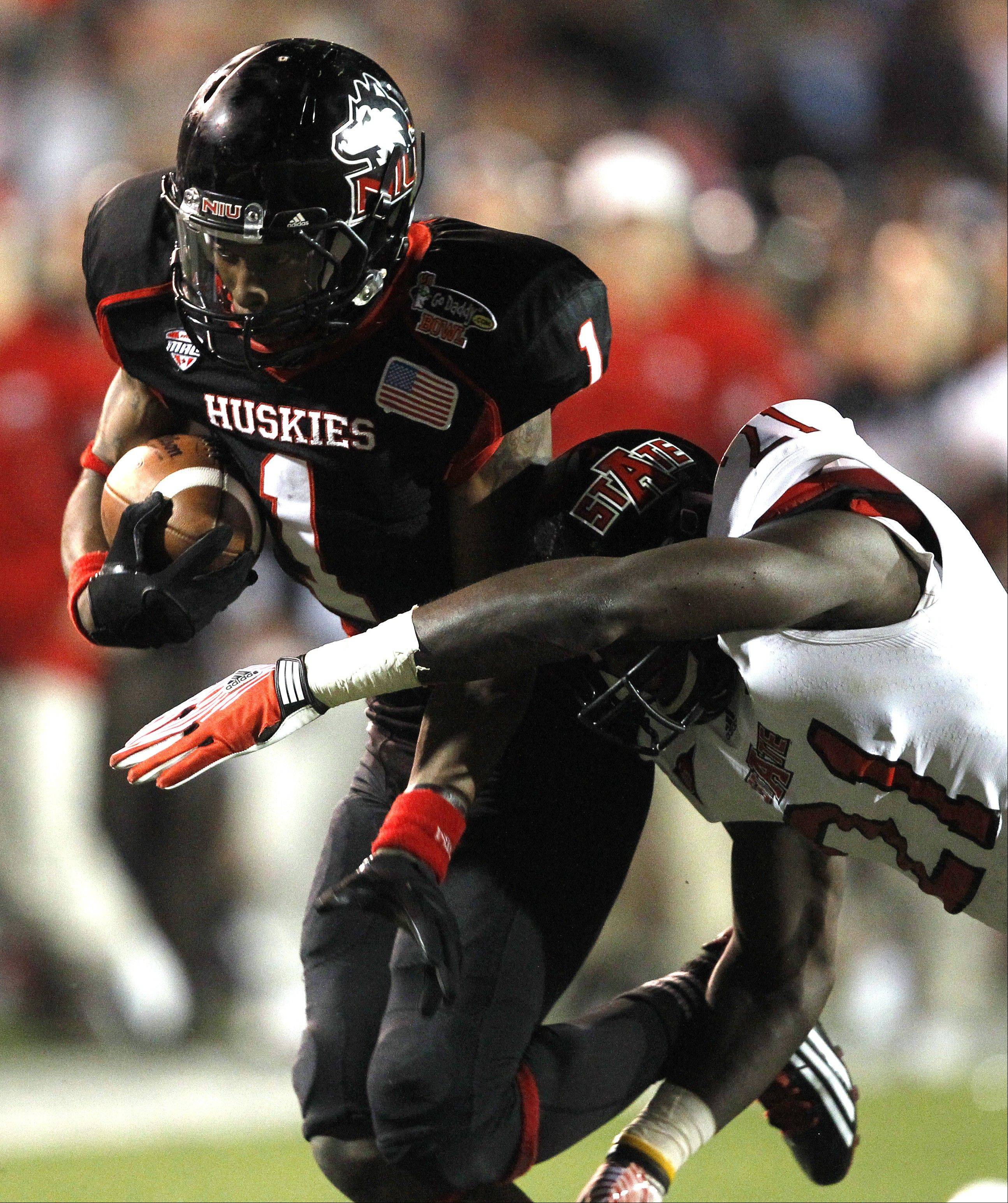 Northern Illinois will be counting on wide receiver Martel Moore, here catching a pass in the Go Daddy Bowl last January, to help get the offense rolling under new starter Jordan Lynch.