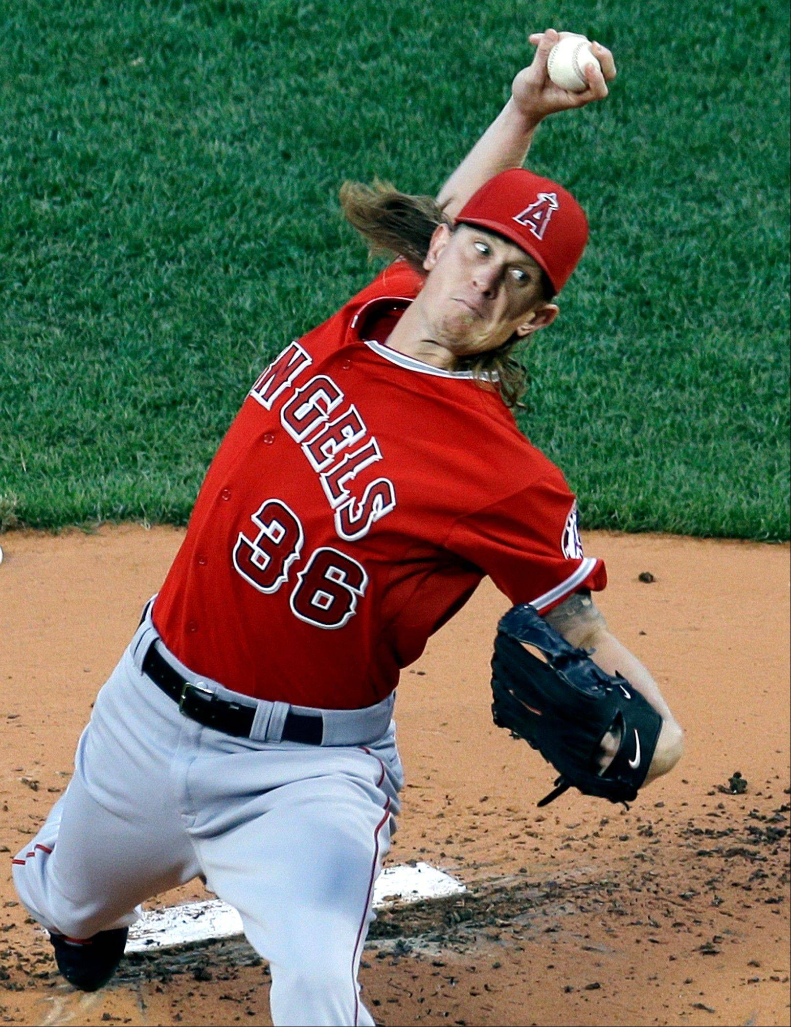Los Angeles Angels starting pitcher Jered Weaver struck out five and walked one Wednesday in a victory in Boston.
