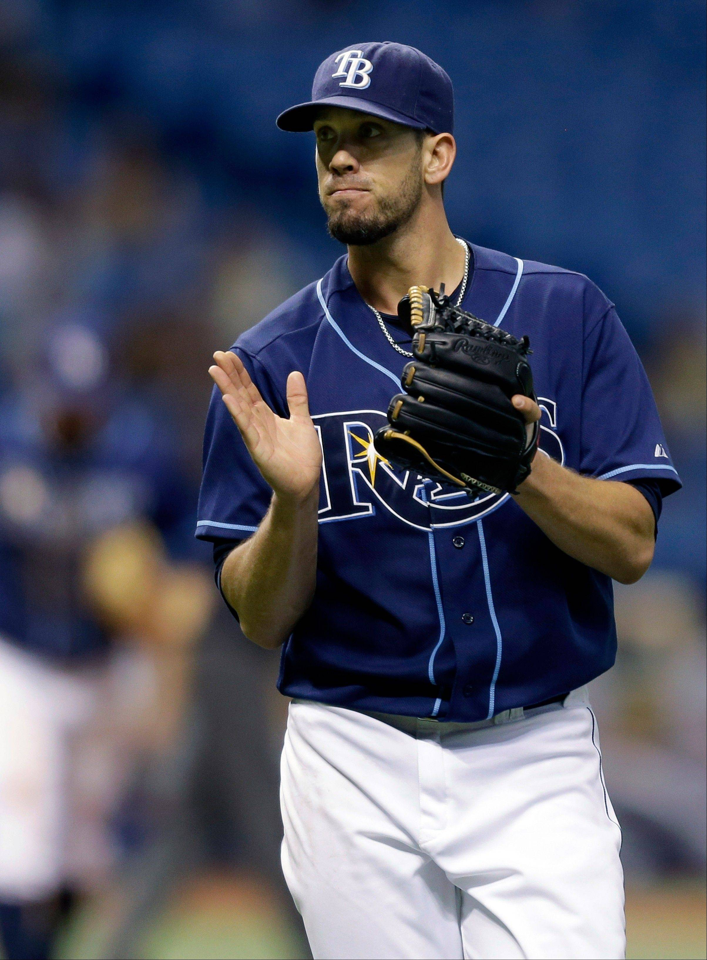 Tampa Bay Rays starting pitcher James Shields struck out seven and walked none Wednesday in a home win over Kansas City.