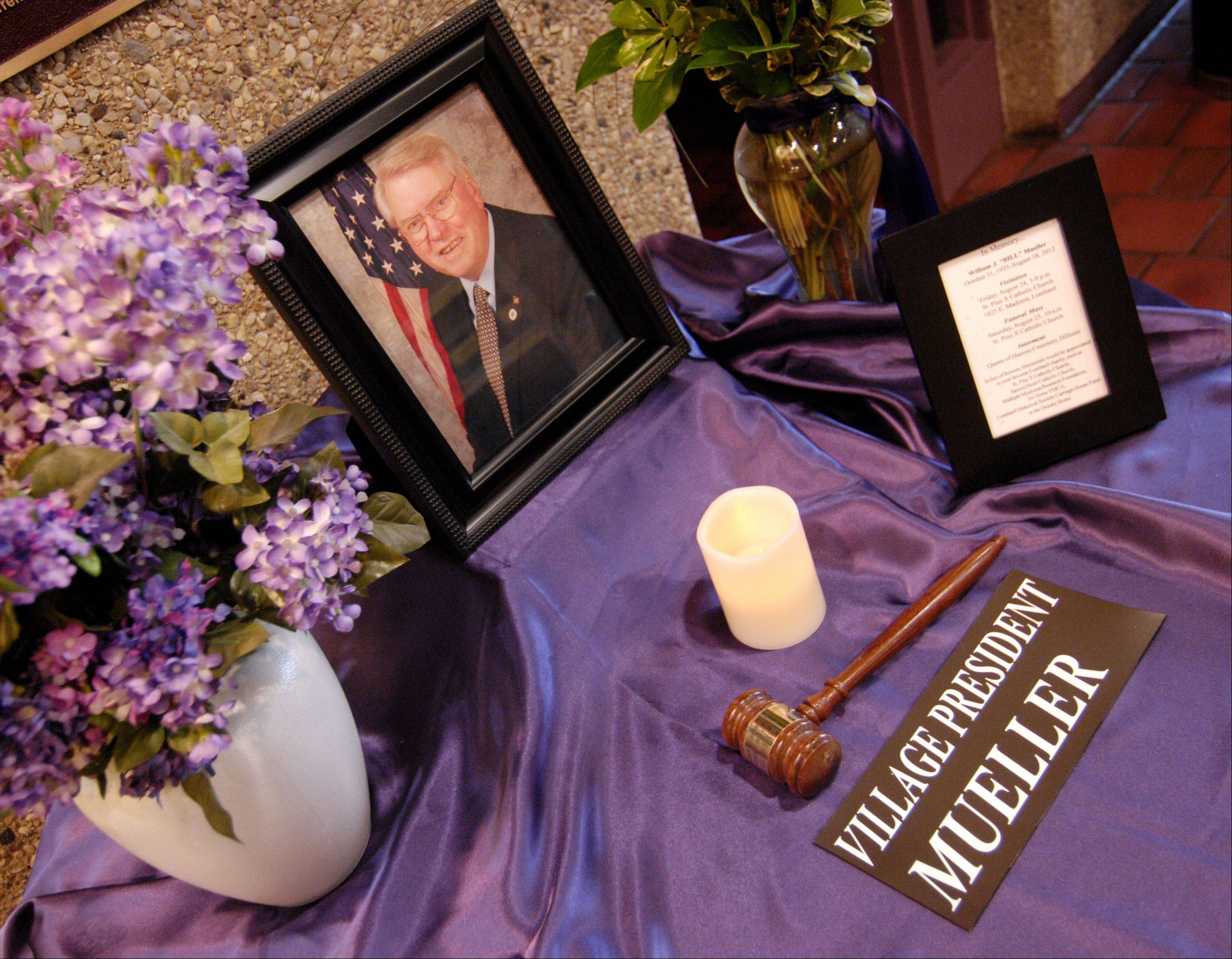 A memorial to Lombard Village President Bill Mueller, who died Aug. 18, sits in the lobby of village hall.