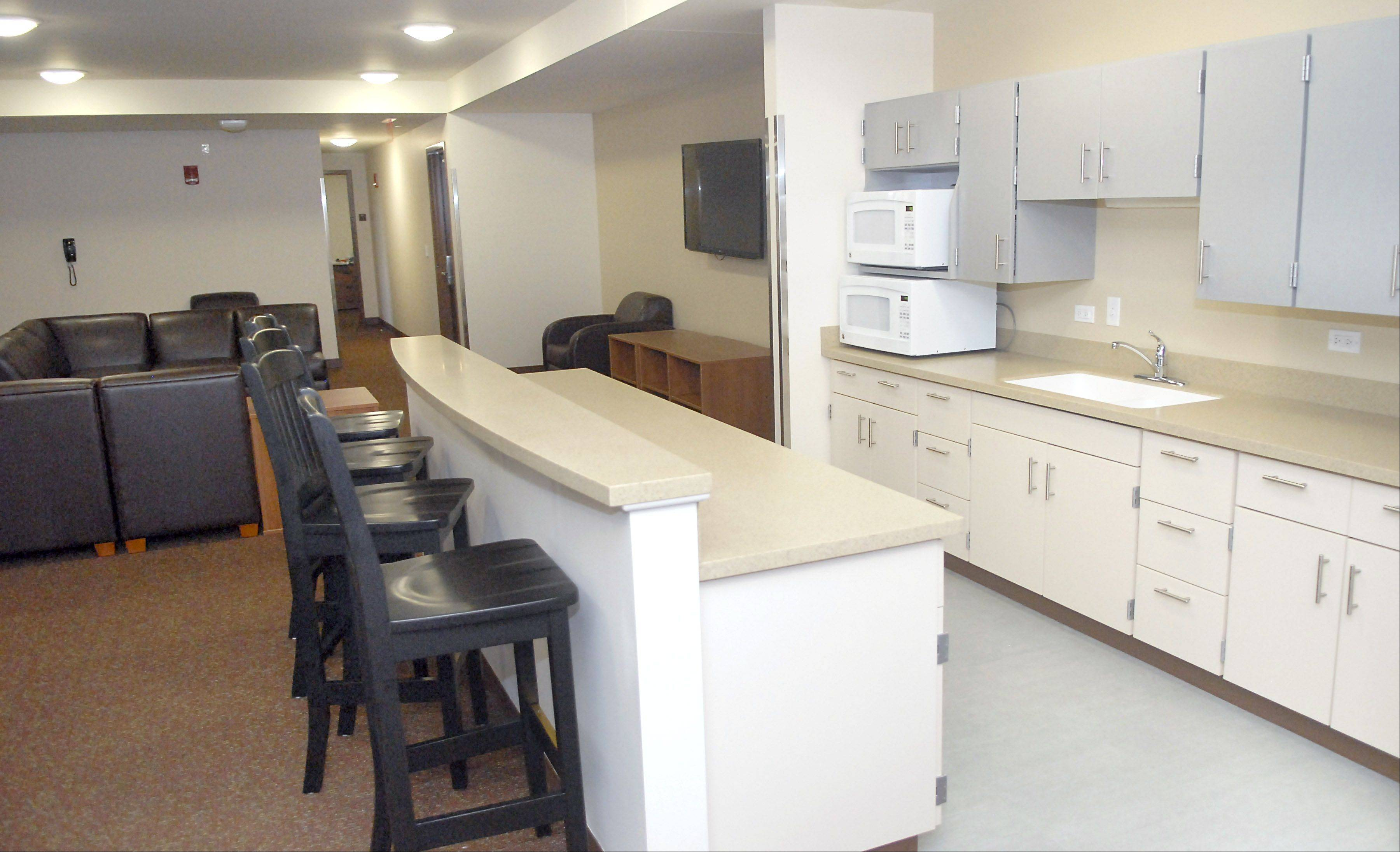 A kitchenette is pictured at the New Residence Hall West at Northern Illinois University in DeKalb on Thursday, August 23.