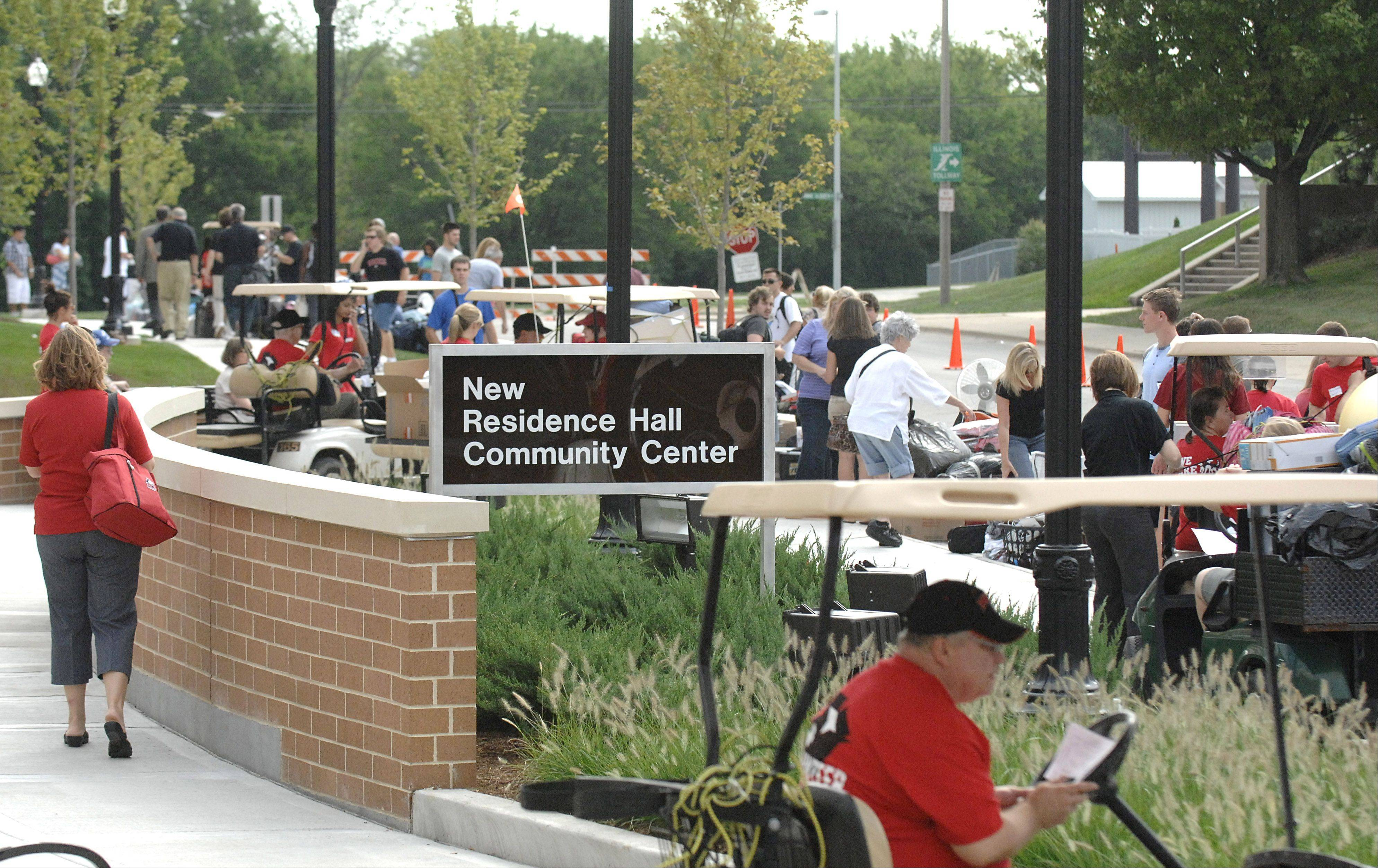 It's move-in day for students at New Residence Halls East and West at Northern Illinois University in DeKalb on Thursday, August 23.