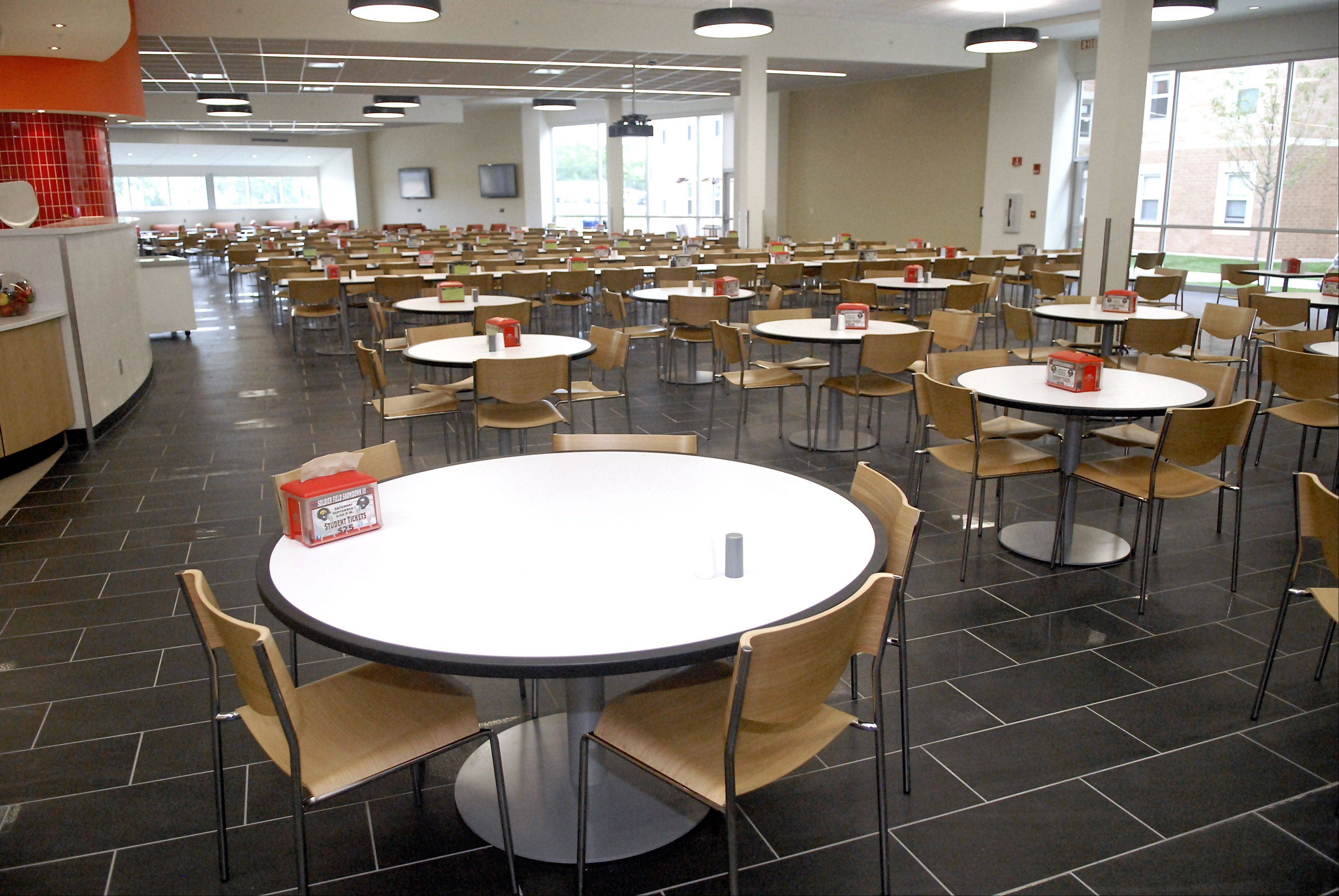 The dining area of the cafeteria in the New Residence Hall Community Center at Northern Illinois University in DeKalb on Thursday, August 23.