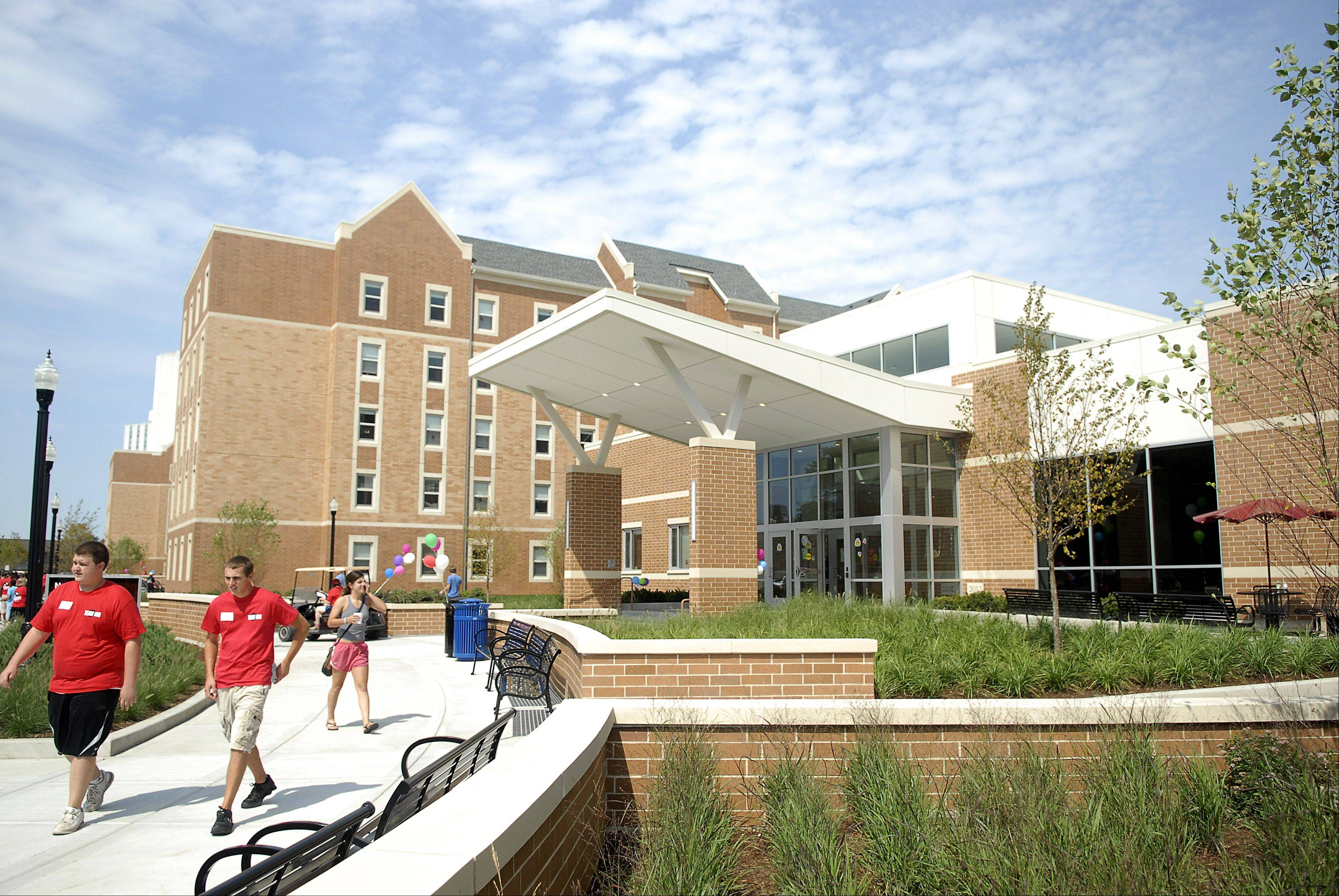 The New Residence Hall Community Center is located between New Residence Hall East and New Residence Hall West at NIU. A cafeteria is located in the building.