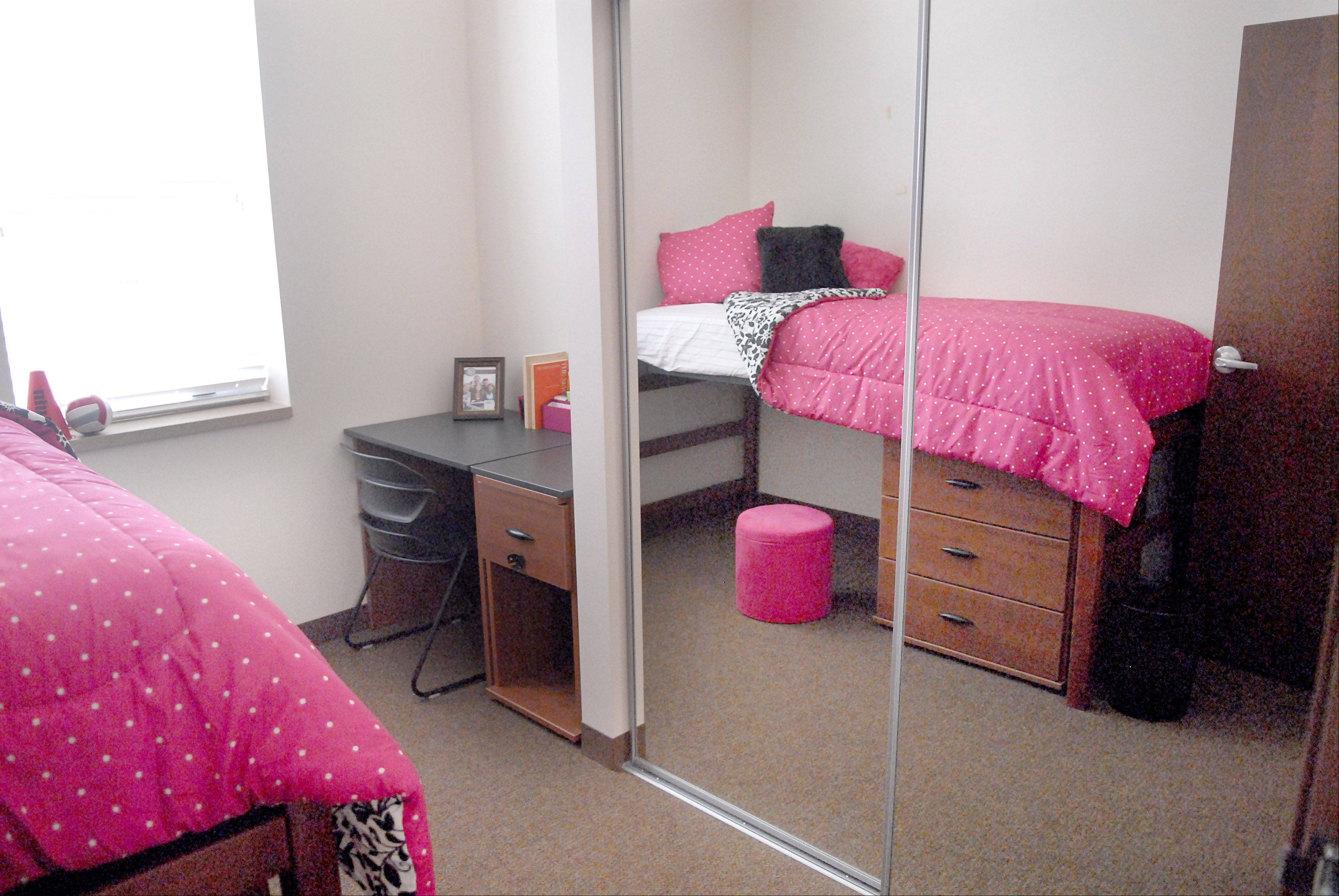 A dorm is pictured at New Residence Hall West at Northern Illinois University in DeKalb on Thursday, August 23. Students have their own bedrooms and share a bathroom with one other person.