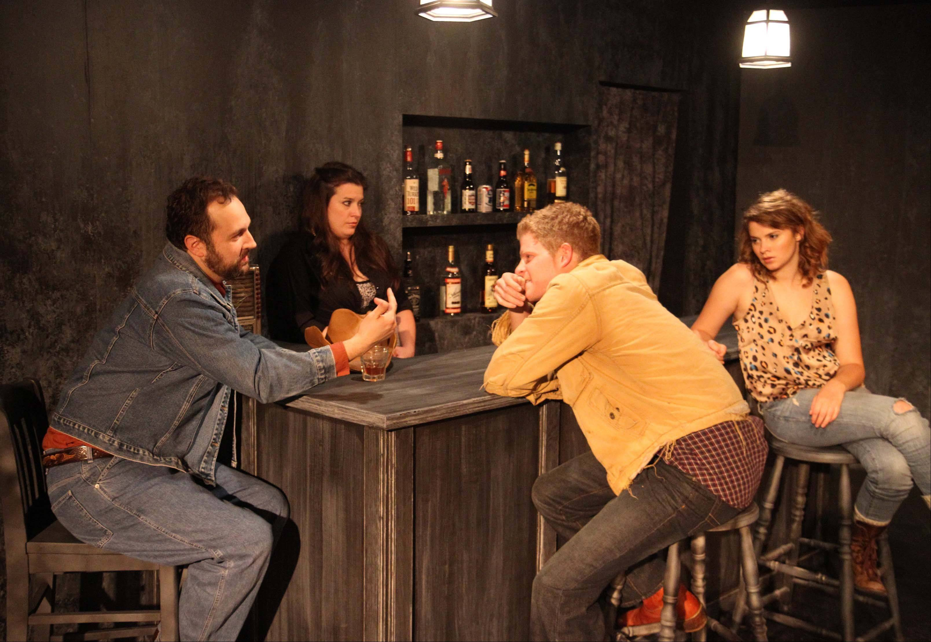 "Love and betrayal play out in a Texas dive bar in Robert Askins' gritty drama ""Princes of Waco."" Signal Ensemble Theatre's Chicago-area premiere stars Joseph Stearns, left, as Fritz, a petty criminal, and Rob Fenton, second from right, as wannabe bad boy Jim. Rounding out the cast is Carolyn Braver's restless Esme, right, and Meredith Bell Alvarez's world-weary bartender Toasty."