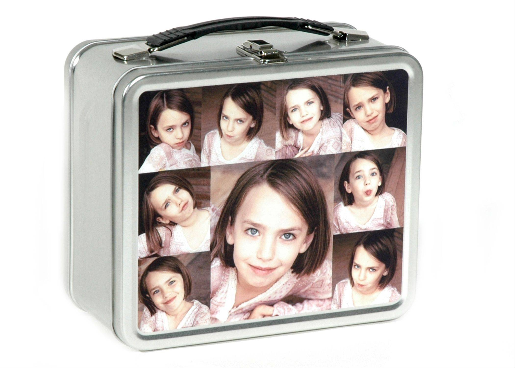 This product image released by PhotoLunchbox shows one of the company's personalized metal lunchboxes.