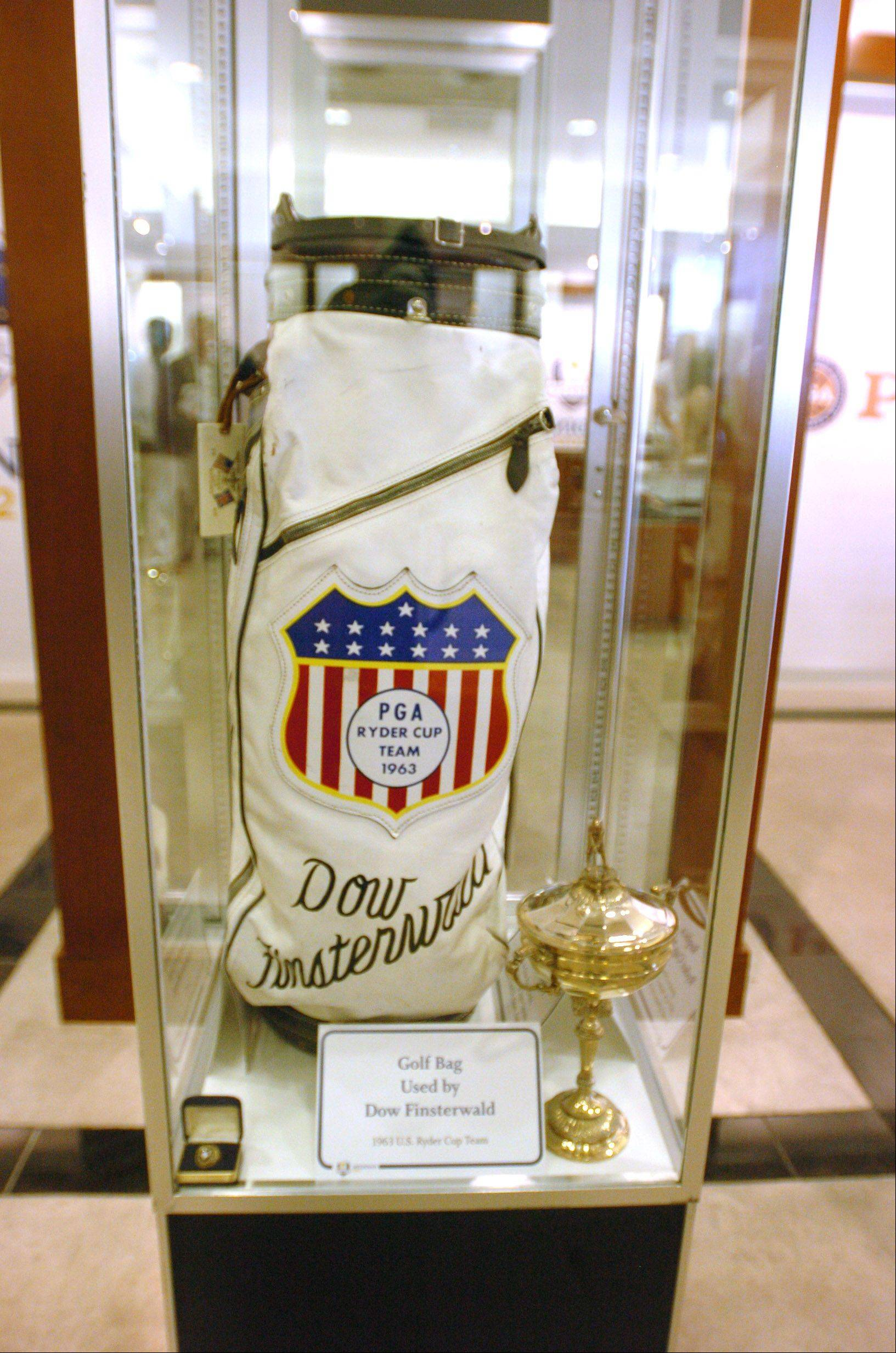 The golf bag used by Dow Finsterwald is one of the items on display at a Ryder Cup exhibit now at Oakbrook Center. More than 60 items are on display through Sept. 30, including items from Jack Nicklaus and Arnold Palmer.