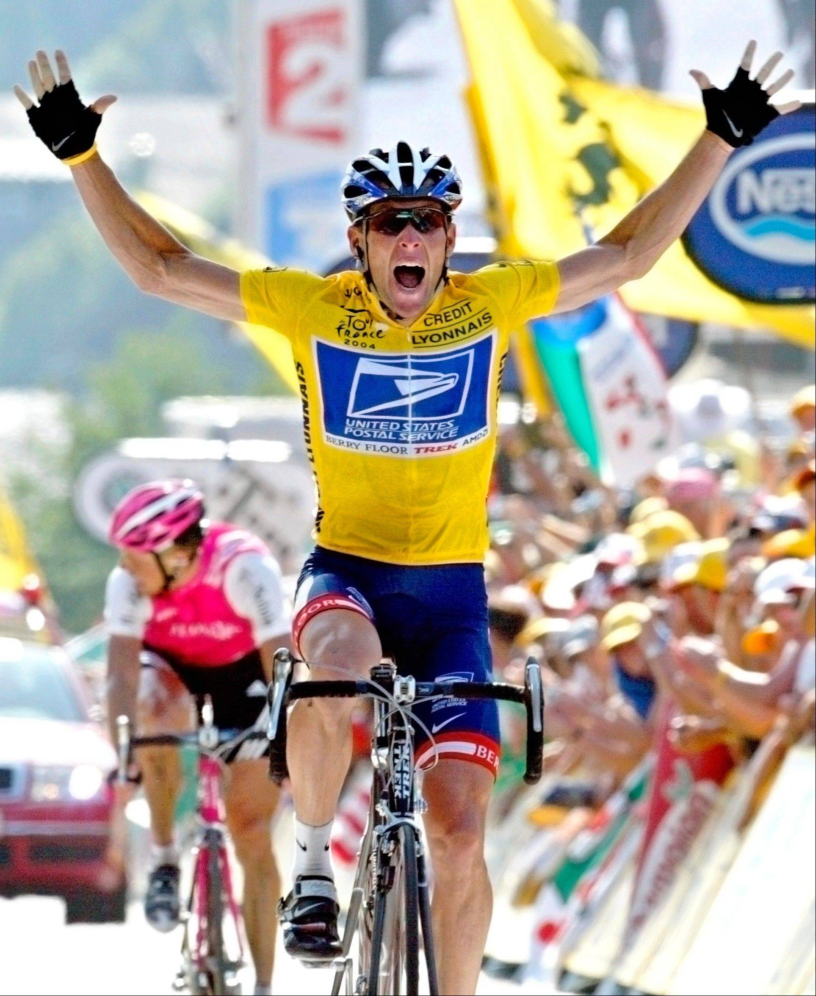 In this July 22, 2004, file photo, overall leader Lance Armstrong reacts as he crosses the finish line to win the 17th stage of the Tour de France cycling race between Bourd-d'Oisans and Le Grand Bornand, French Alps. Federal prosecutors said, Friday, Feb. 3, 2012, they are closing a criminal investigation of Armstrong and will not charge him over allegations the seven-time Tour de France winner used performance-enhancing drugs.