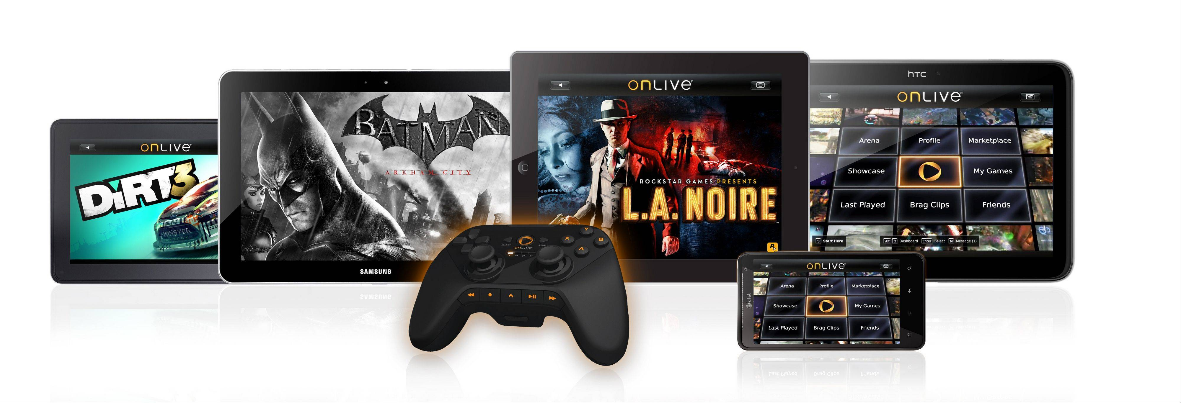 This product image provided by OnLive Inc, shows tablets displaying a variety of games using the OnLive game controller. OnLive, the video game streaming startup that was full of promise when it was unveiled three years ago, has reorganized its business and cut roughly half of its staff amid financial difficulties. But it says it will continue to operate under the same name and users should not see a change in their service.