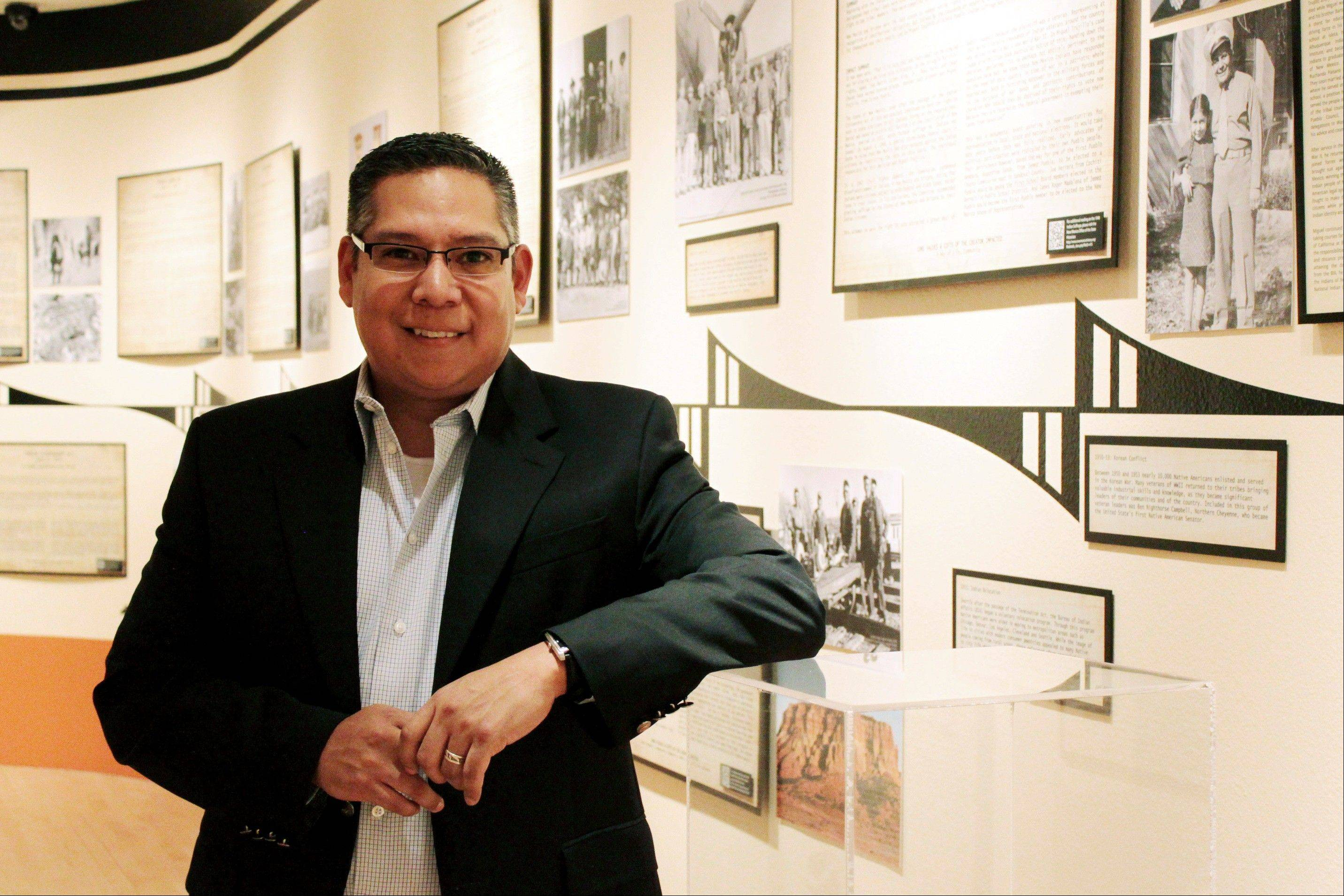 "Exhibition project manager Travis Suazo helped put together the exhibition ""100 Years of State and Federal Policy: The Impact on Pueblo Nations,"" which will be on display through February at The Indian Pueblo Cultural Center in Albuquerque, N.M."