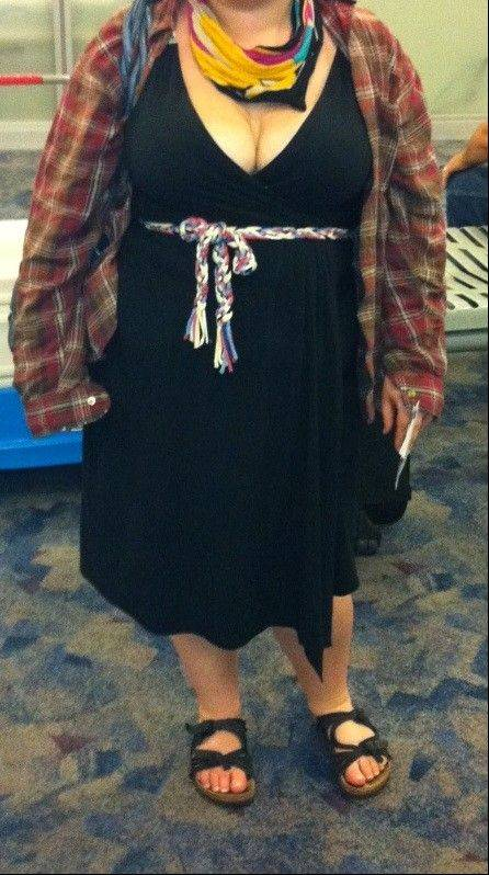 In this Spring 2012 photo provided by a woman identified as Avital and made available to the blog Jezebel, Avital poses for a picture at McCarran International Airport in Las Vegas, showing what she was wearing after she says a Southwest Airlines gate agent approached her, alleging she was showing too much cleavage.