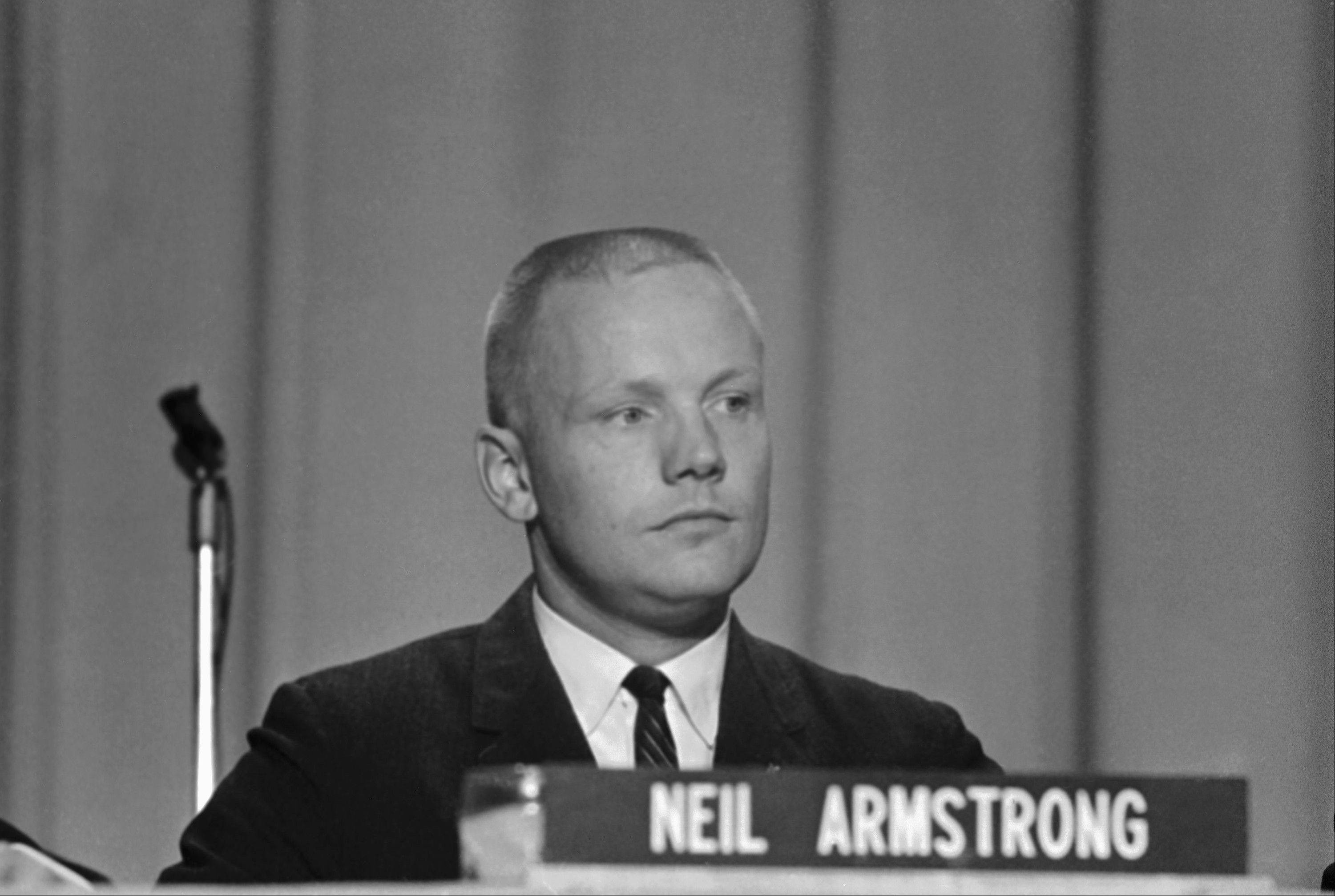 "In this Sept. 17, 1962 file photo, Neil Armstrong, one of the nine astronauts, is shown as he was introduced to the press, along with the other astronauts in Houston. The family of Neil Armstrong, the first man to walk on the moon, says he has died at age 82. A statement from the family says he died following complications resulting from cardiovascular procedures. It doesn't say where he died. Armstrong commanded the Apollo 11 spacecraft that landed on the moon July 20, 1969. He radioed back to Earth the historic news of ""one giant leap for mankind."" Armstrong and fellow astronaut Edwin ""Buzz"" Aldrin spent nearly three hours walking on the moon, collecting samples, conducting experiments and taking photographs. In all, 12 Americans walked on the moon from 1969 to 1972."