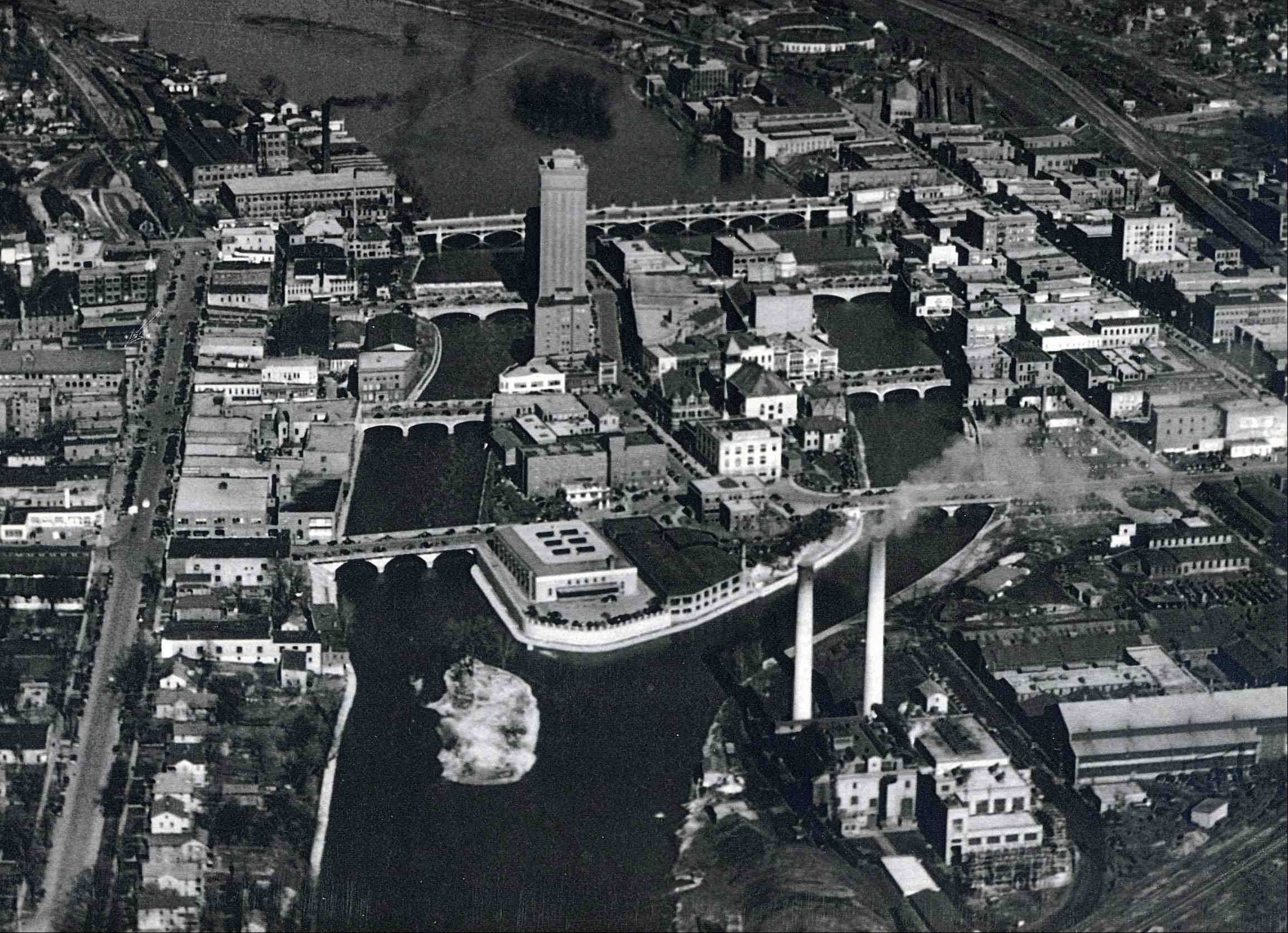 This aerial view of Stolp Island was taken in 1950.