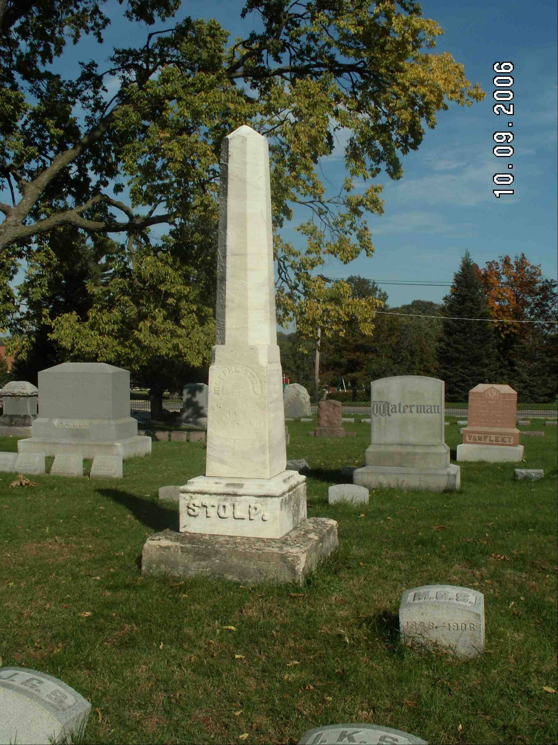 Joseph G. Stolp is buried at West Aurora Cemetery.