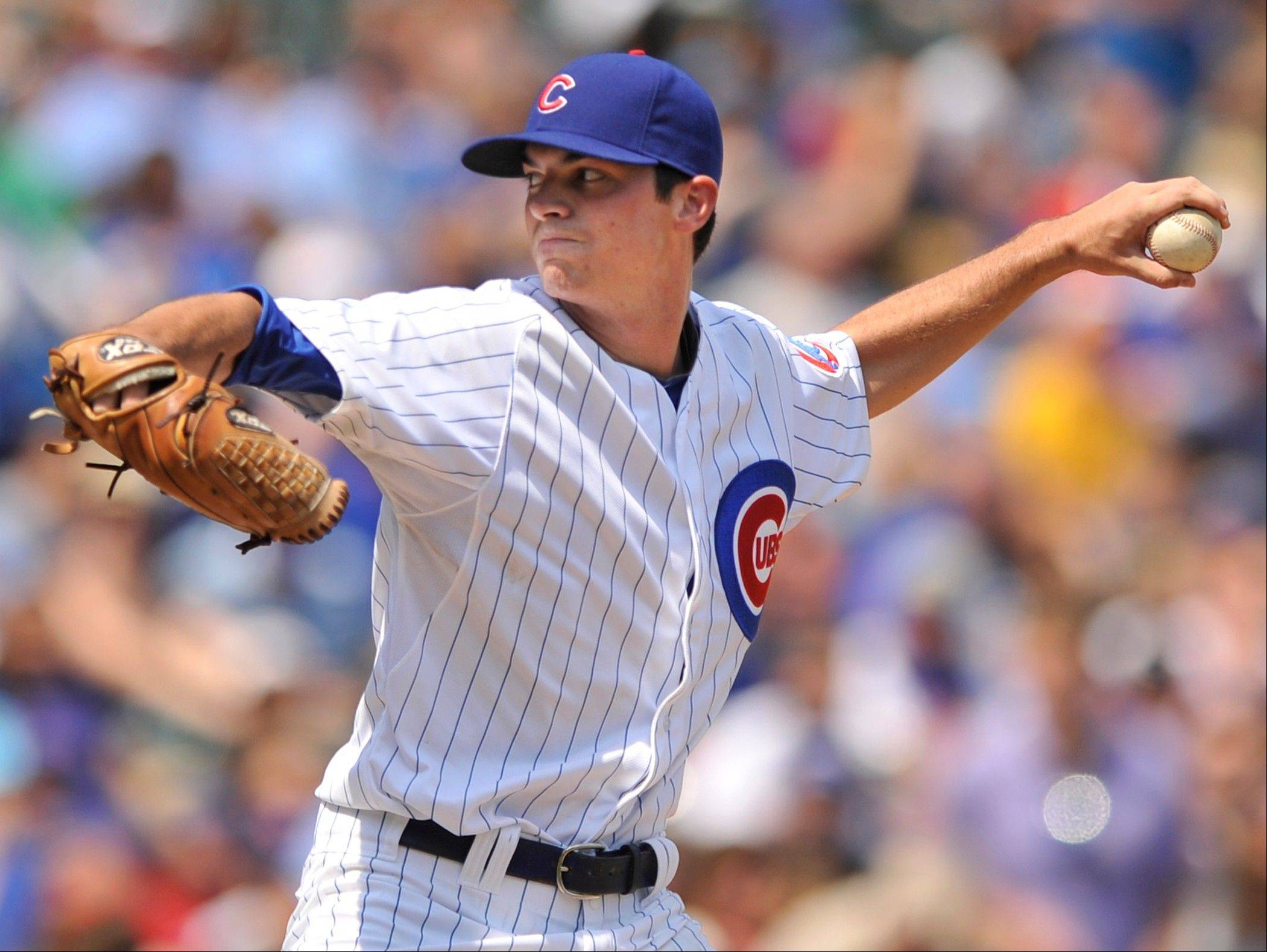 Chicago Cubs starter Brooks Raley delivers a pitch to the Colorado Rockies in the first inning during a baseball game in Chicago, Saturday.