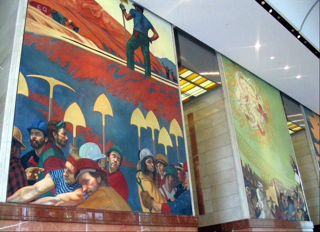 Frescoes painted by Ben Long can be seen in the Bank of America Corporate Center in Charlotte, N.C.