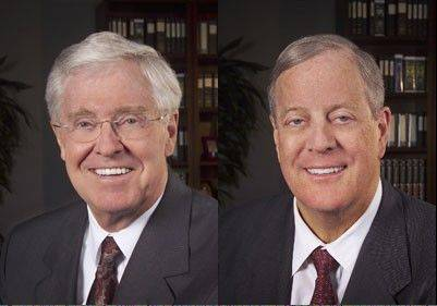 "A secretly funded Democratic group is running a $500,000 national television advertising campaign spotlighting the Koch brothers as the money behind Republican groups that also don't disclose their donors. As a giant check reading ""Billionaires Special Interests"" and pictures of the brothers flash on screen, a male narrator says, ""Billionaire oil tycoons Charles and David Koch and their special-interest friends are spending $400 million to buy this year's elections and advance their agenda."""