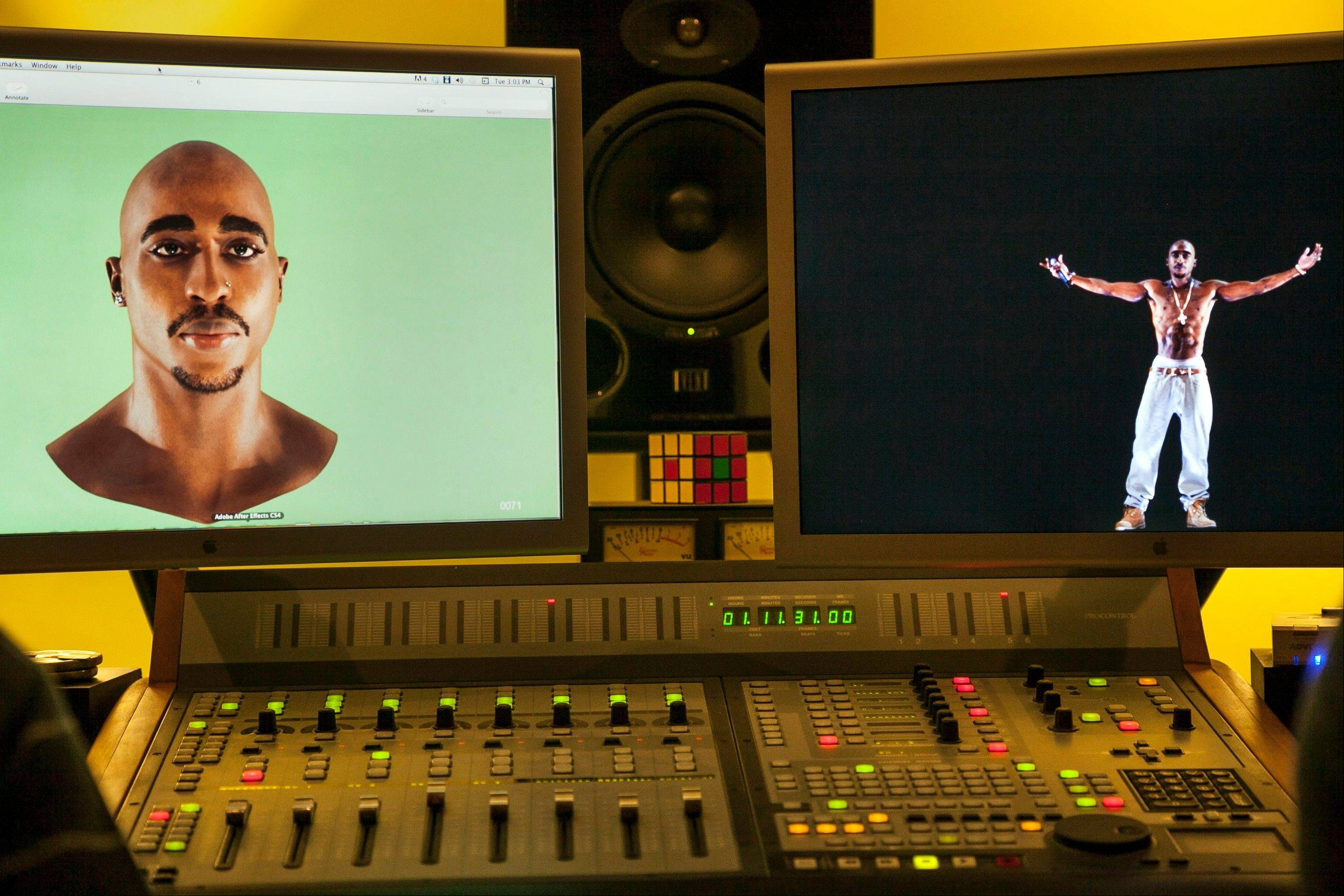 Video images of the Tupac Shakur hologram are displayed on a computer monitor at the Subtractive Studio in Santa Monica, Calif. When Tupac Shakur rose from the stage in the California desert earlier this year, it was not only a jaw-dropping resurrection, but also the beginning of a new form of live entertainment.