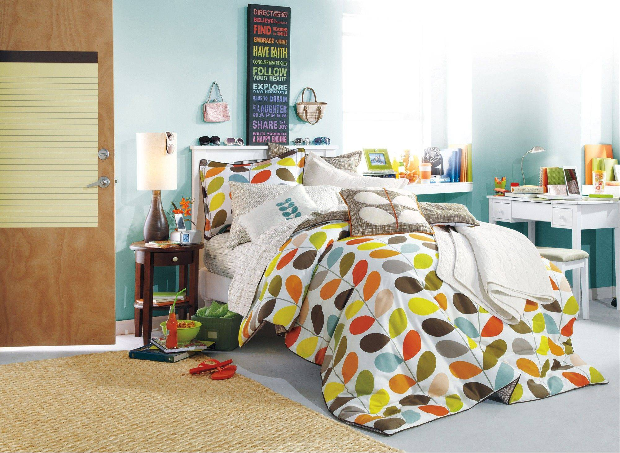 A comforter is usually one of the first purchases for the dorm room.