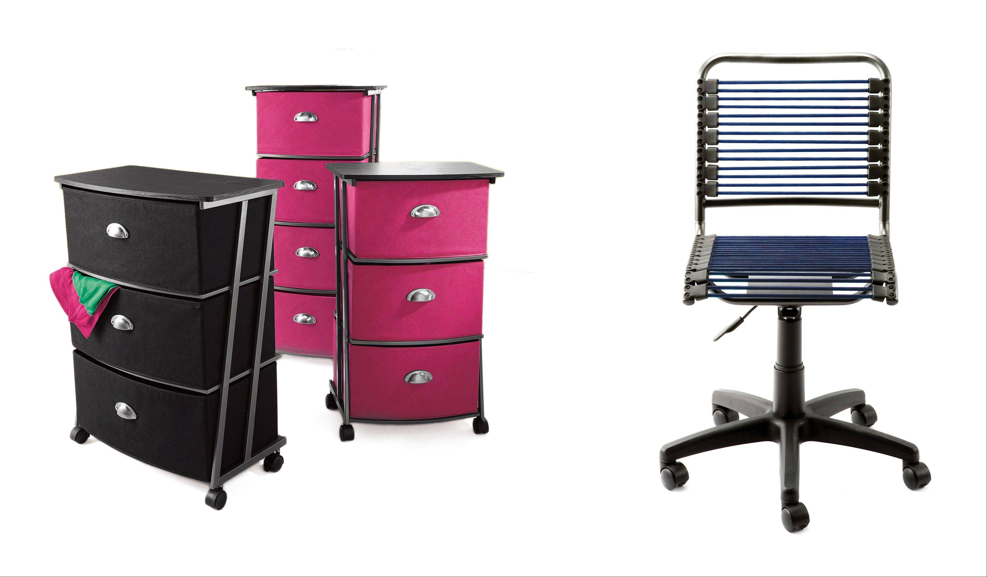 Storage units can add more space for stuff in a dorm room, and replacing the institutional desk chair makes sense in terms of comfort.