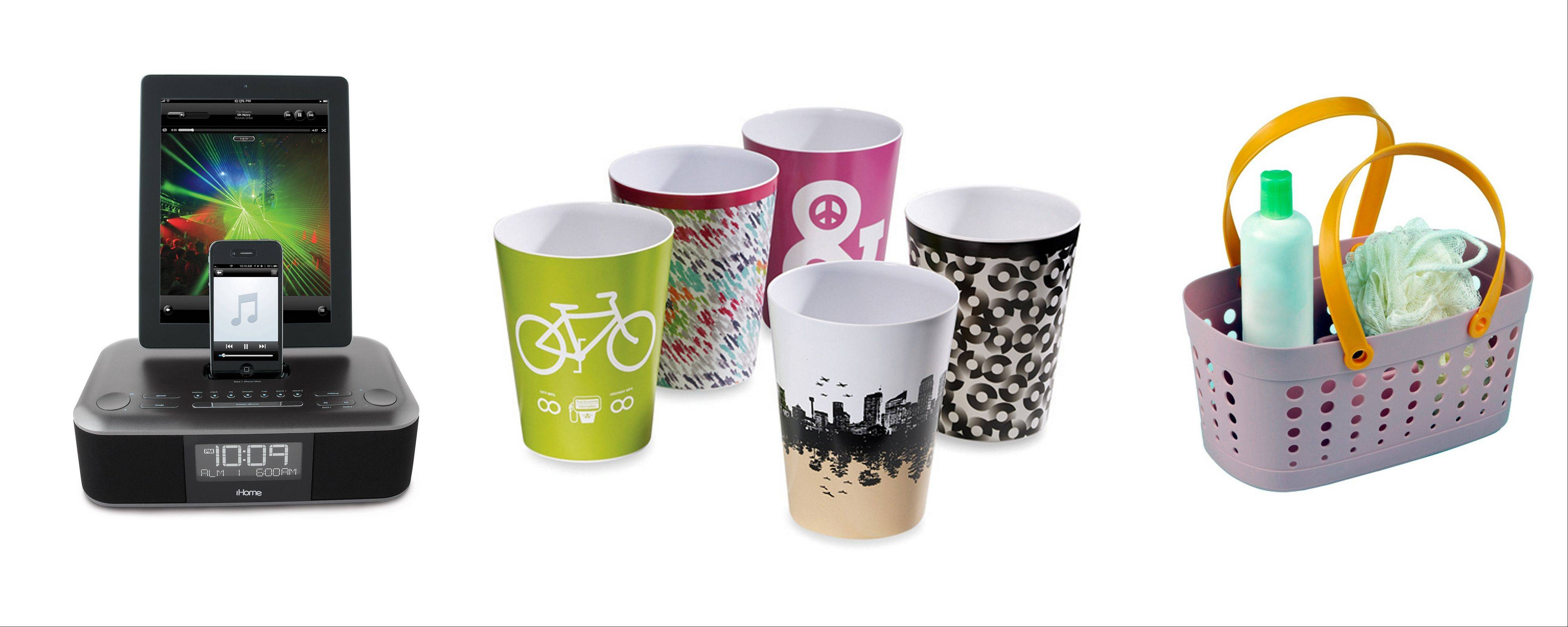 In the iHome app-enhanced triple charge dual alarm, melamine Threadless wastebaskets and colorful cups.