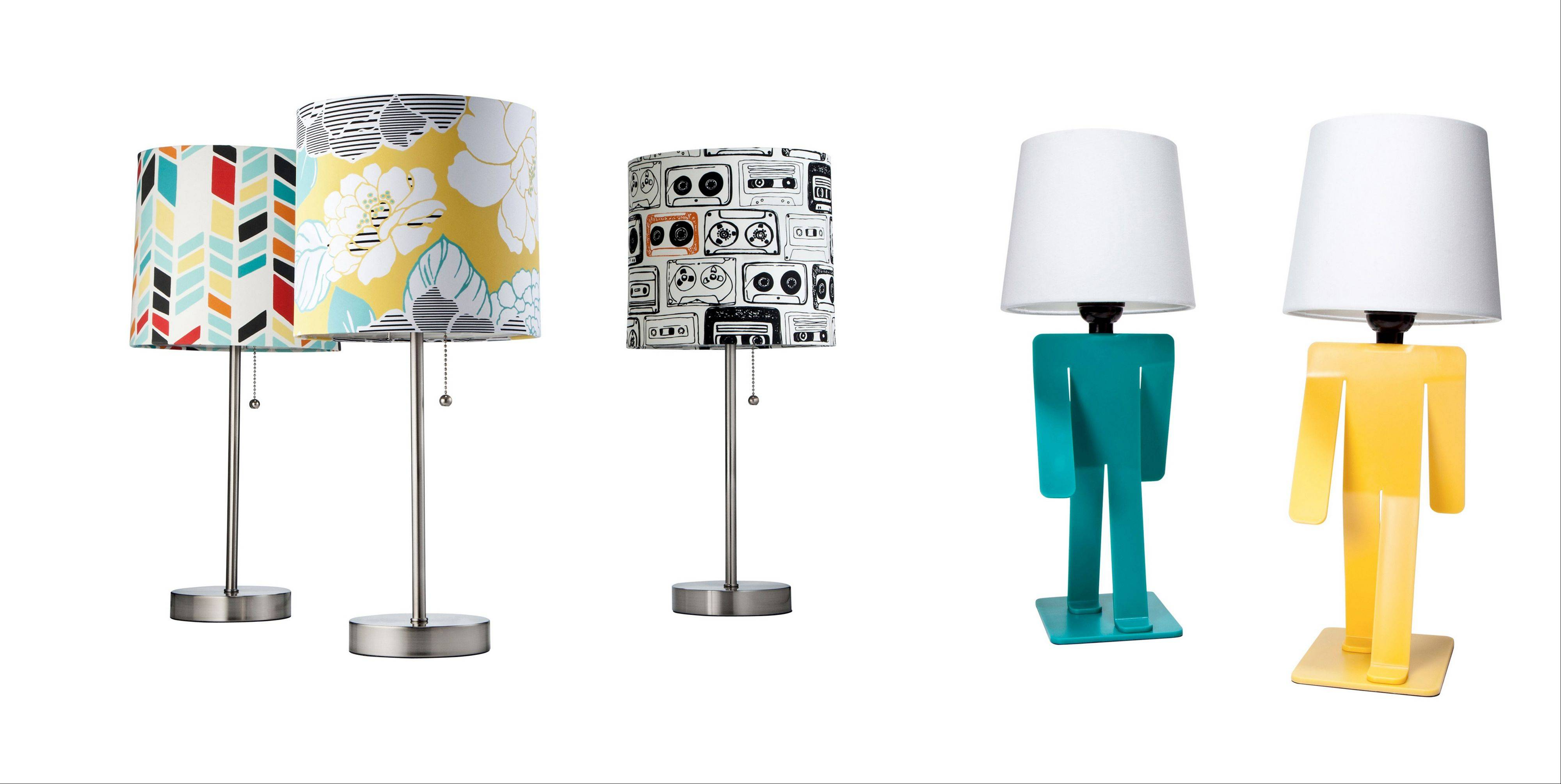 It's easy to add style to a basic dorm room by choosing lamps with personality, like the Stick Lamp, which has a variety of colorful print shades, and the Walking Man Lamp, both from Target.